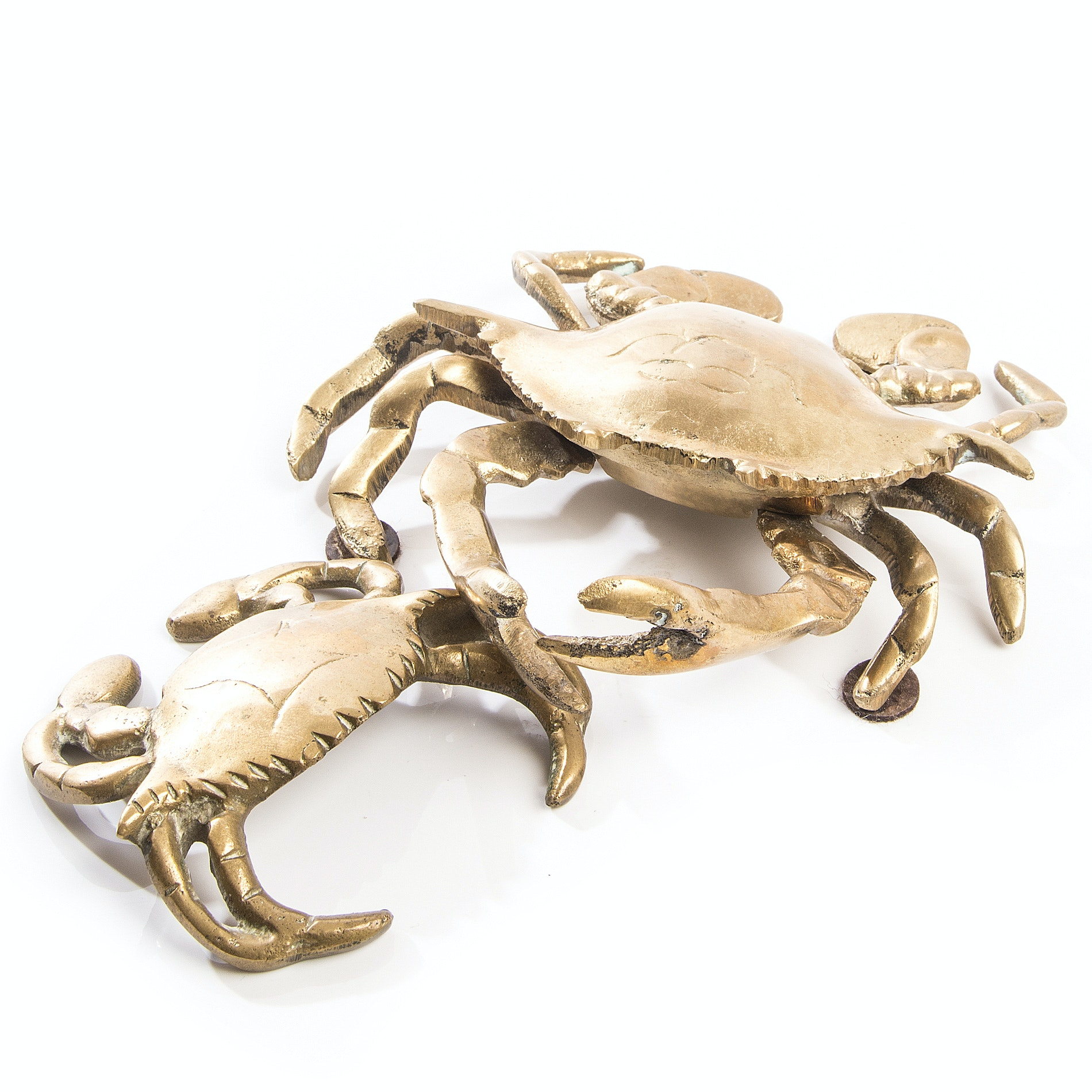 Vintage Nautical Brass Crab Figurines Including Inkwell