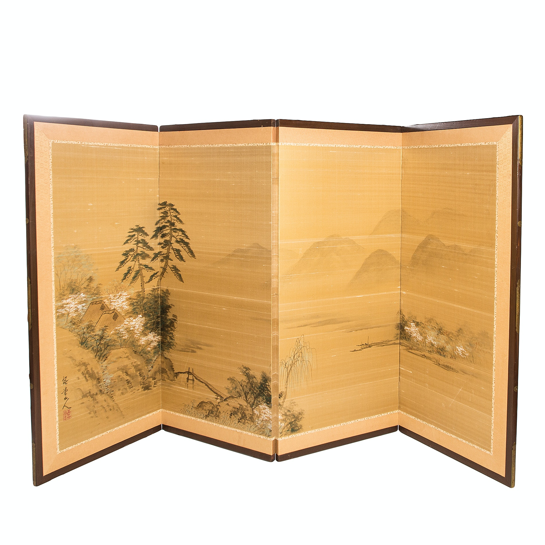 Vintage Japanese Four-Panel Silk Painting Folding Screen