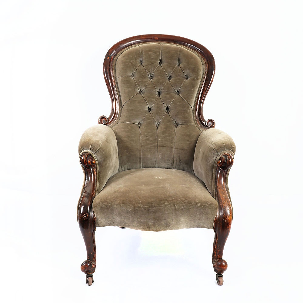 Antique Victorian Rococo Revival Parlor Chair