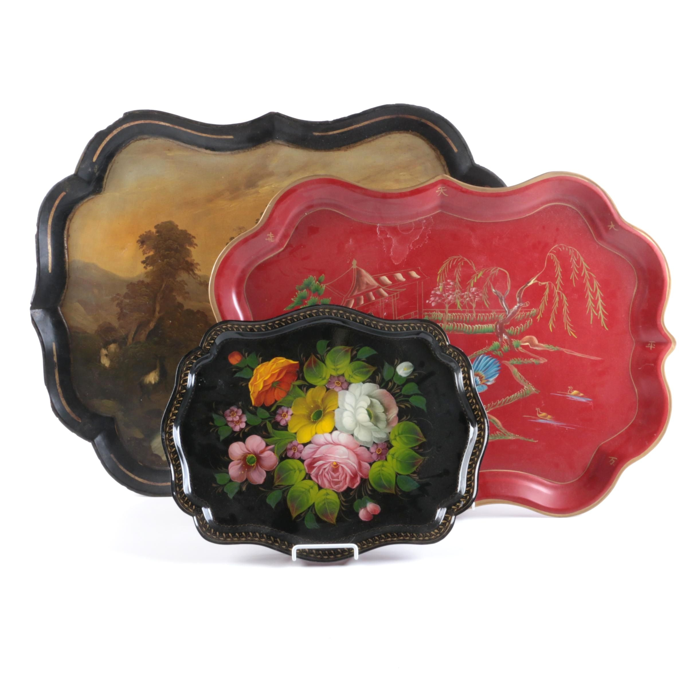 Decorative Trays Featuring Hand-Painted Designs