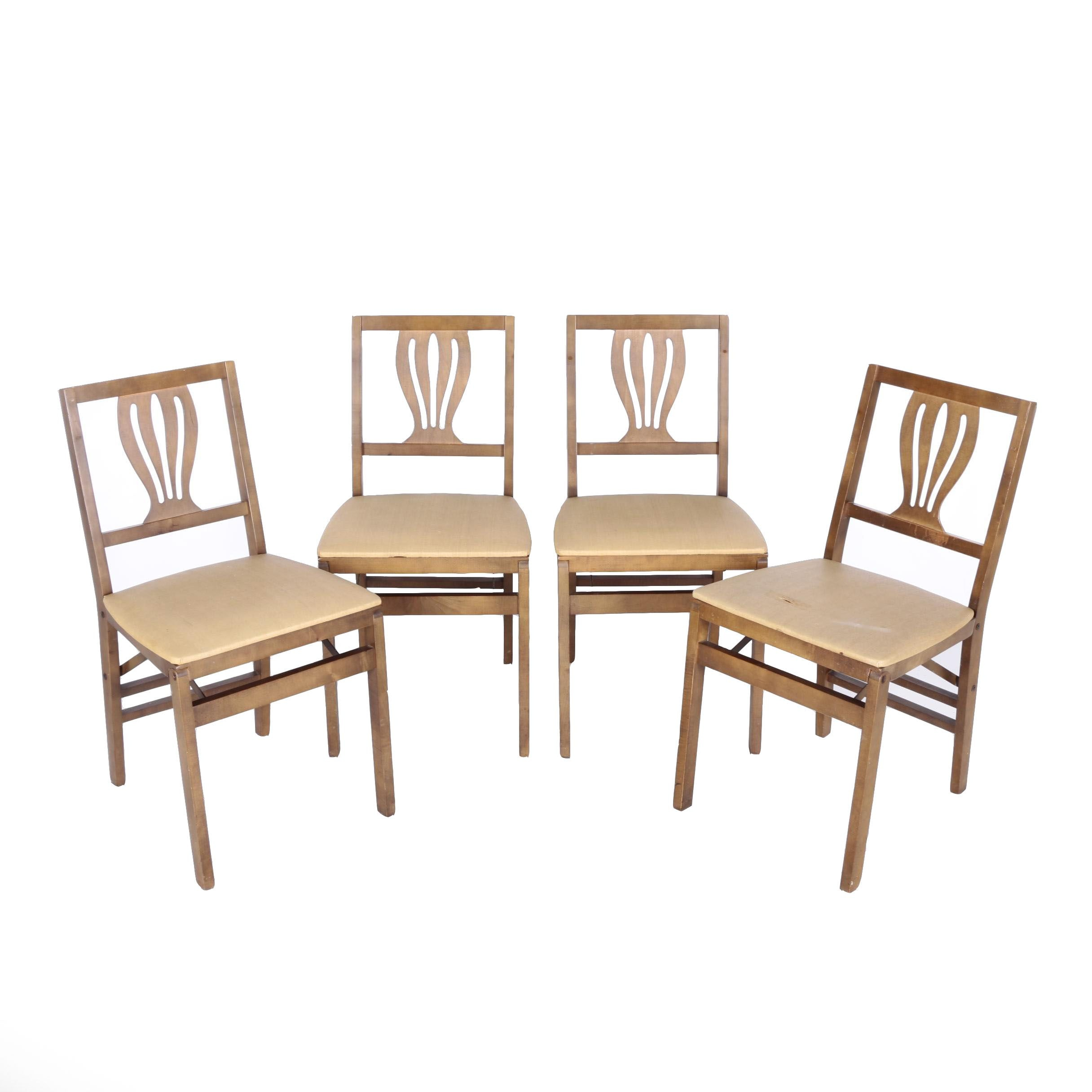 Vintage Art Deco Style Folding Chairs By Stakmore Co Ebth