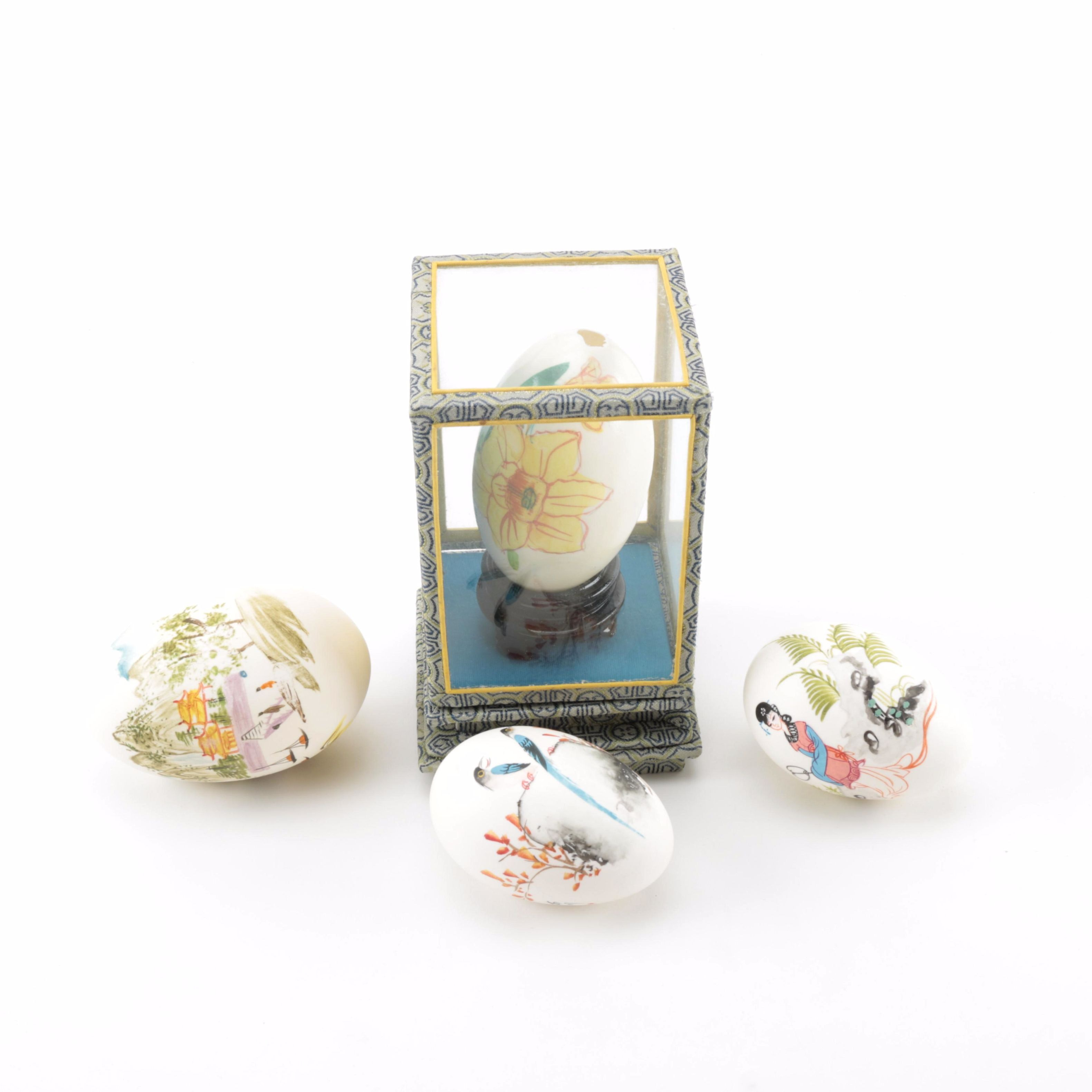 Collection of Hand Painted Decorative Eggs
