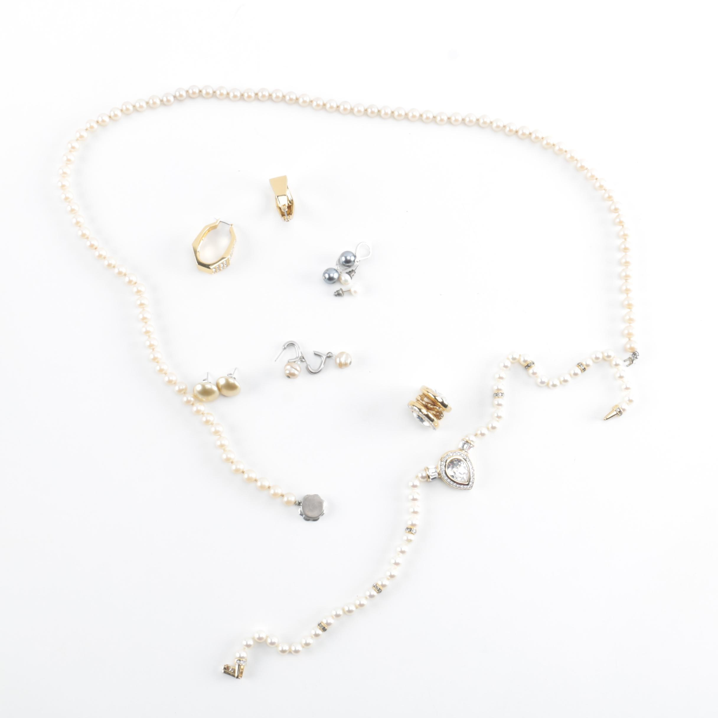Costume Jewelry Including Faux Pearls, Cultured Pearls, and Rhinestone Accents