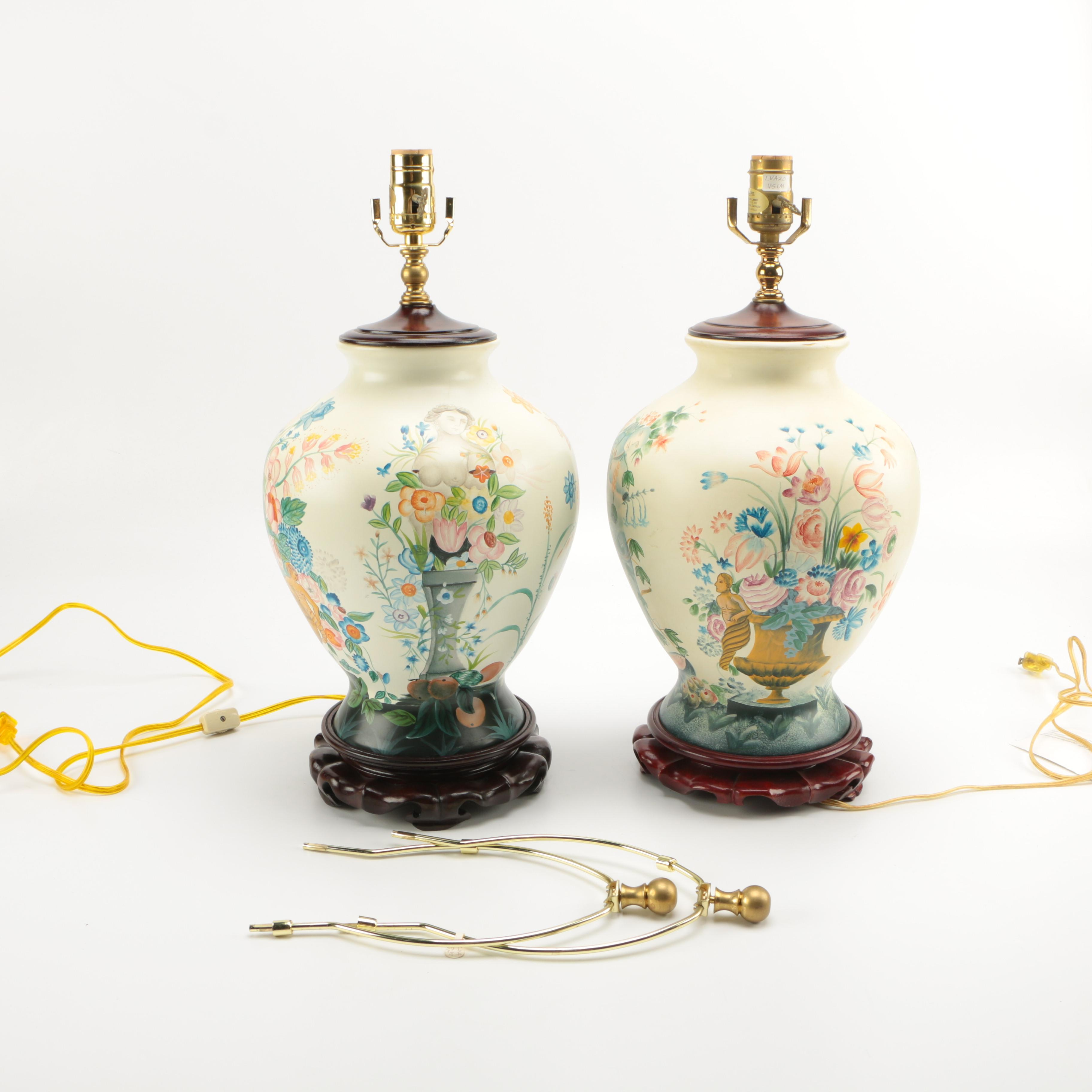 V&A Museum Hand Painted Ceramic Lamps