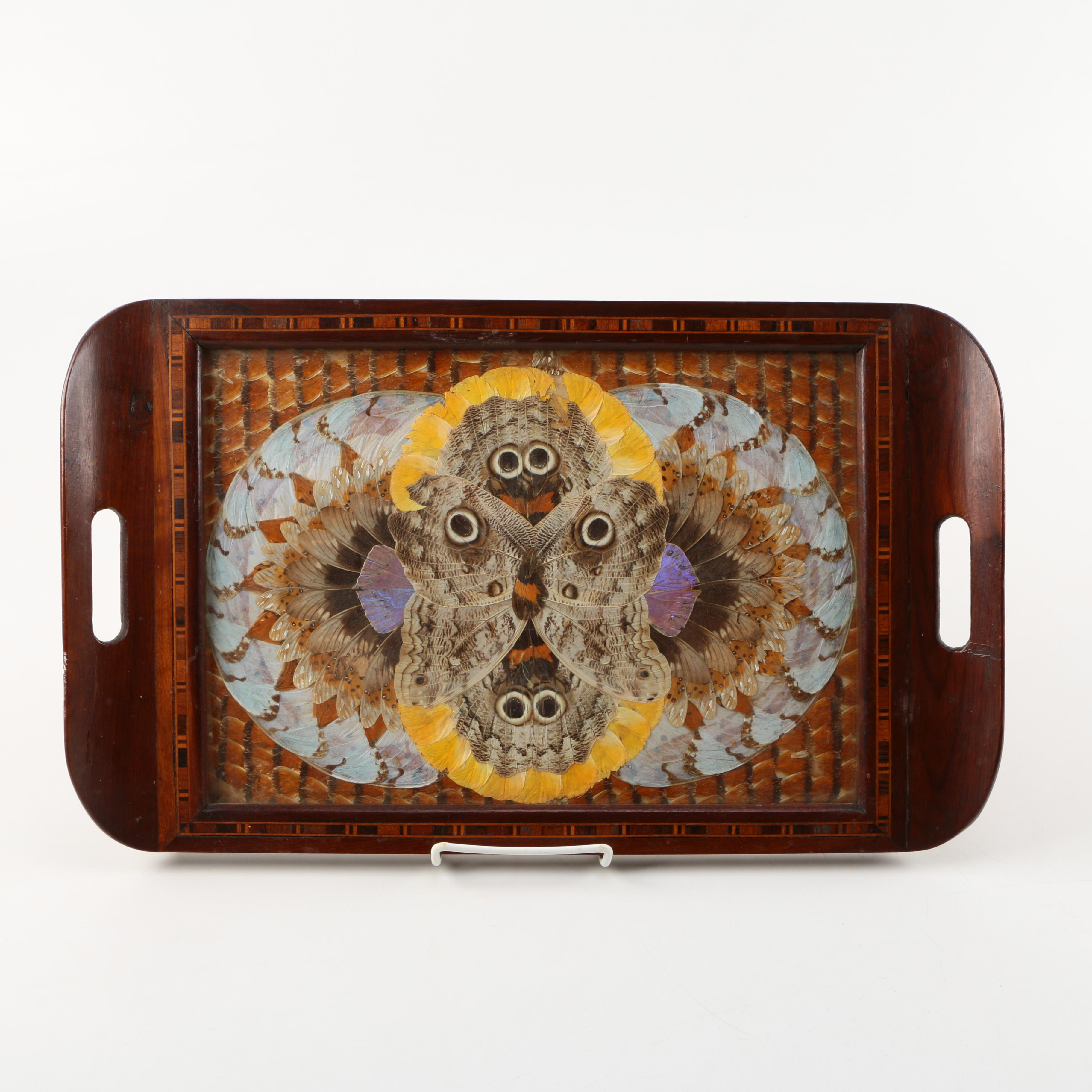 Wooden Tray With Moth Wing Motif