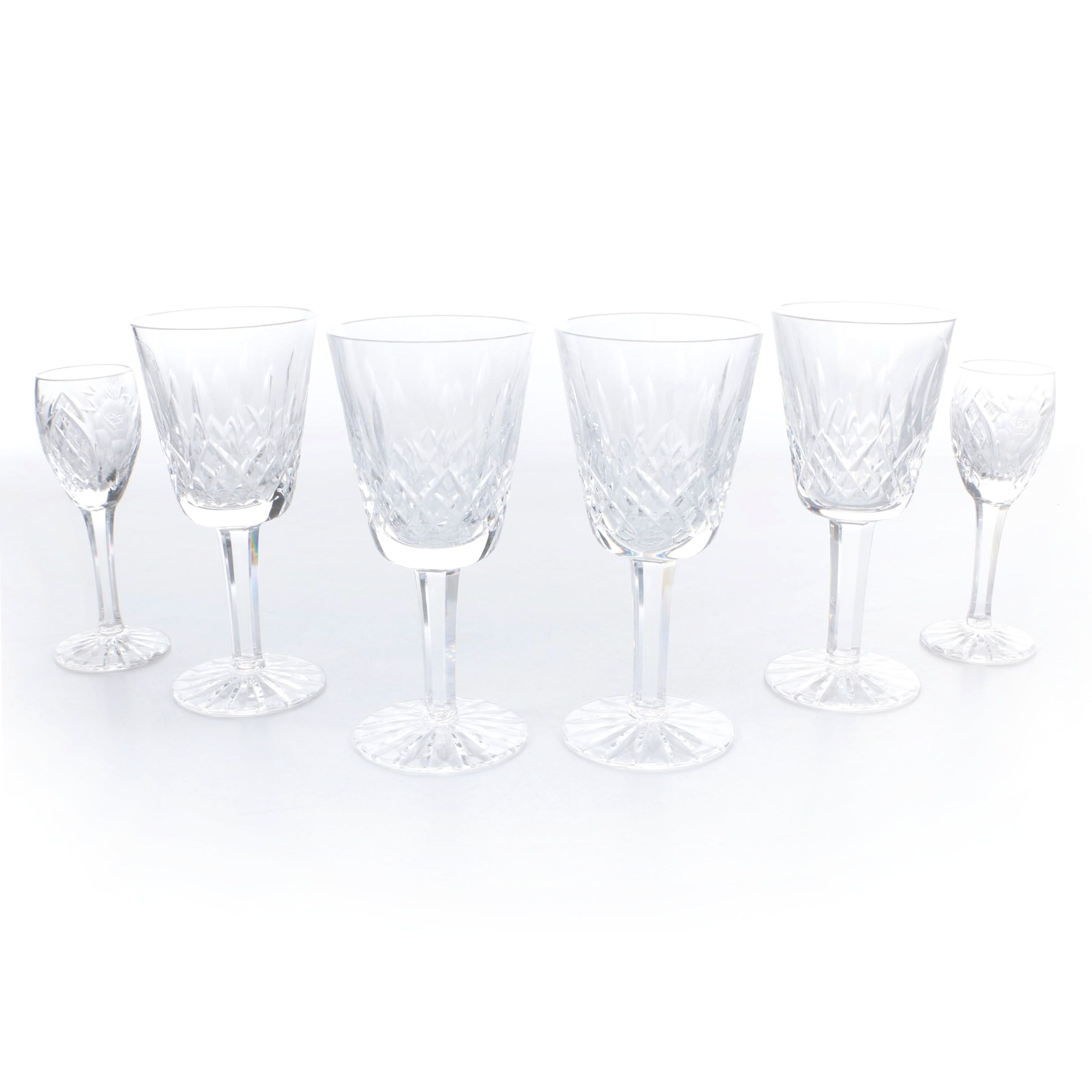 """Waterford Crystal """"Lismore"""" Goblets with Cordial Glasses"""