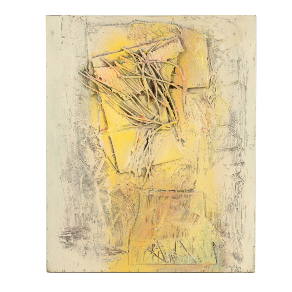 Ronald Ahlstrom Mixed Media on Wood of Abstract Composition