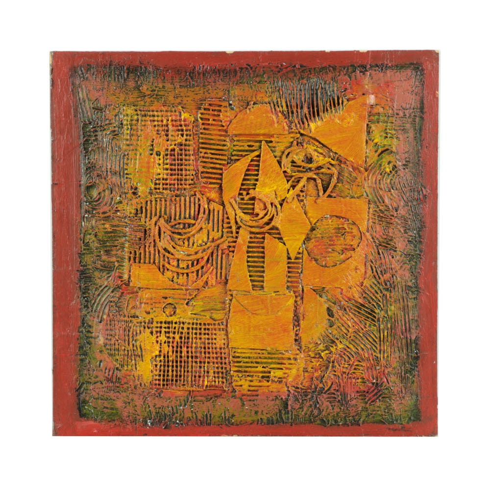 """Ronald Ahlstrom Mixed Media on Board """"Untitled"""""""