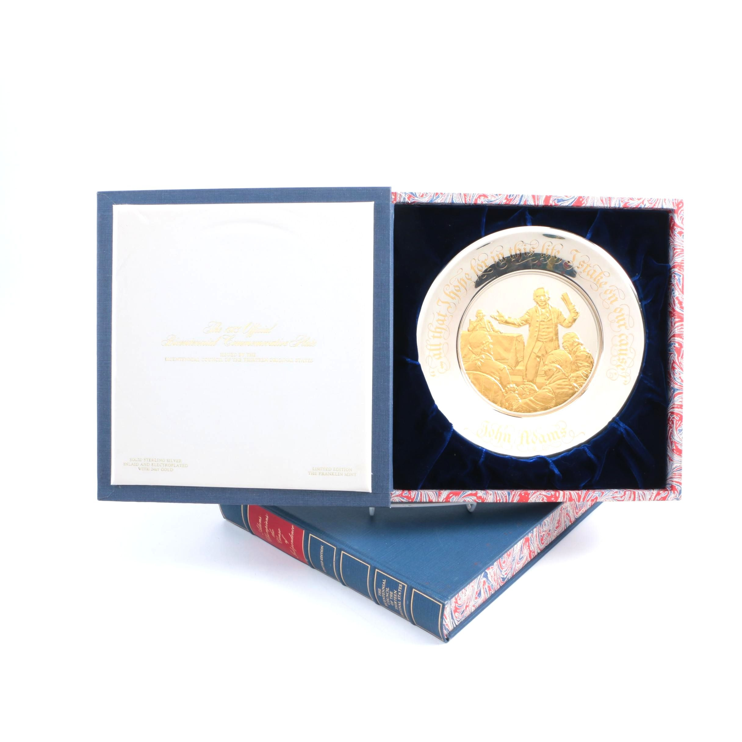 1973-74 Franklin Mint Bicentennial Commemorative Sterling and 24K Gold Plates