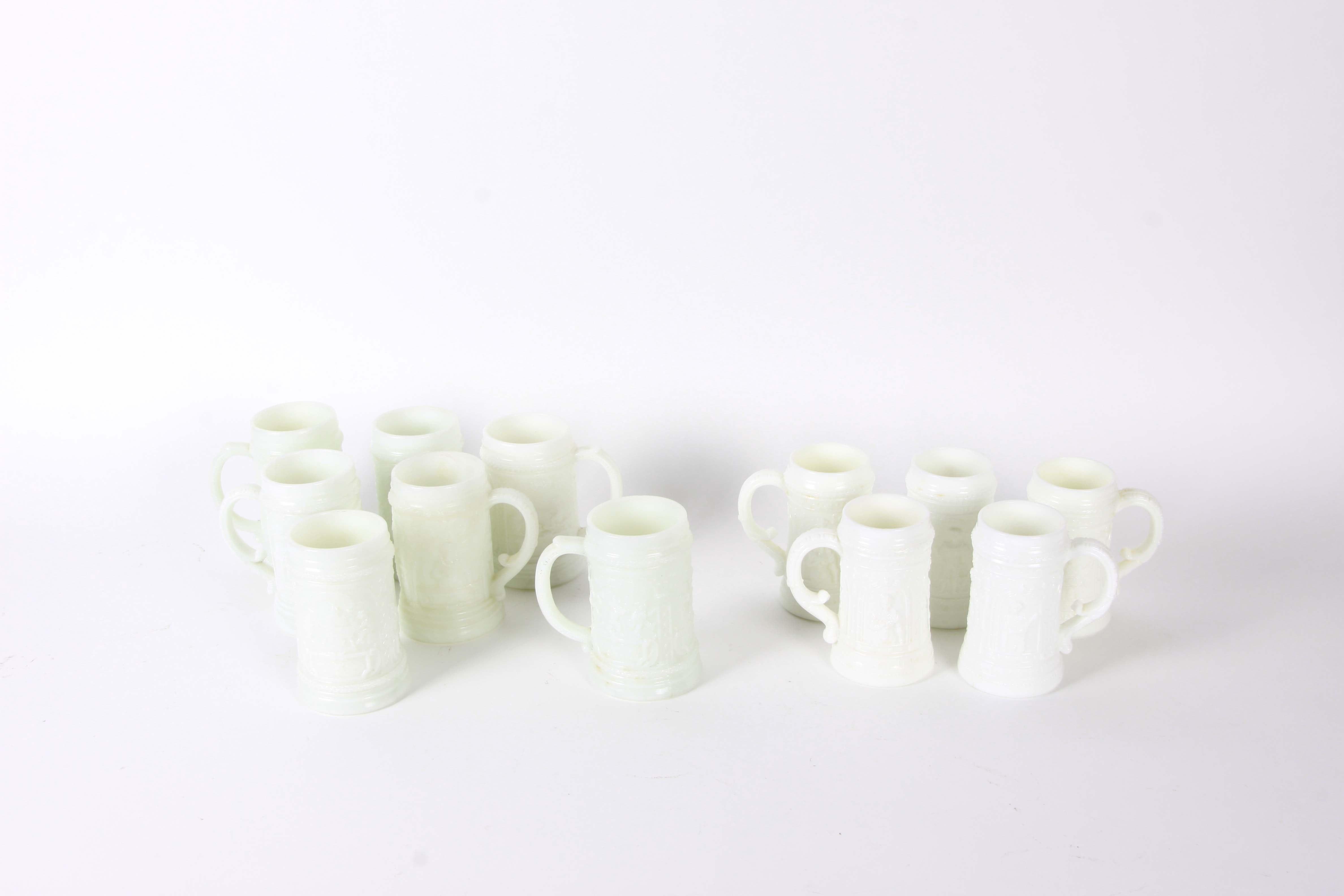 Vintage Milk Glass Steins