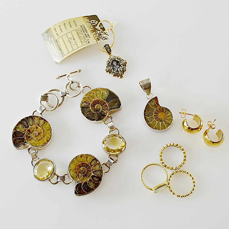 Lila Drake Ammonite Fossil Bracelet, Pendant, 925 Earrings, Rings