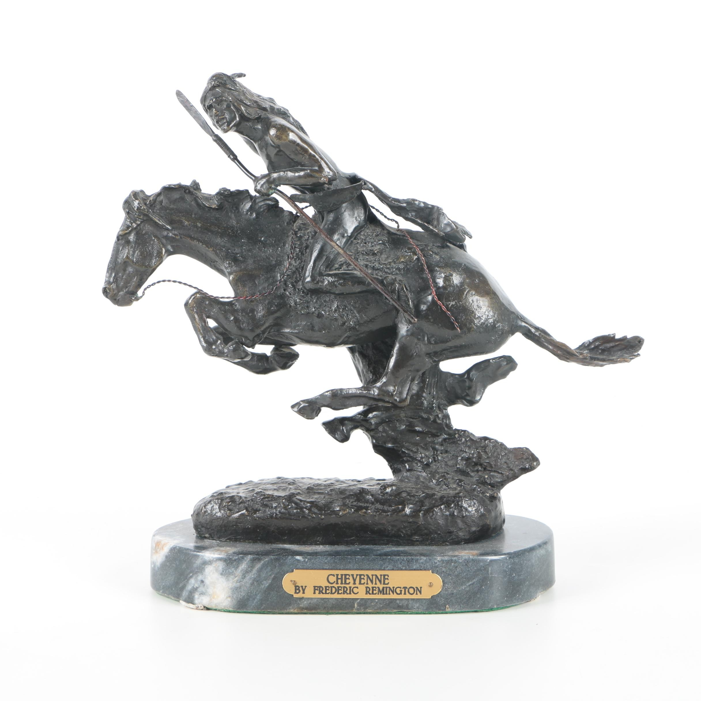 "Reproduction Copper Alloy Statue After Frederic Remington ""Cheyenne"""