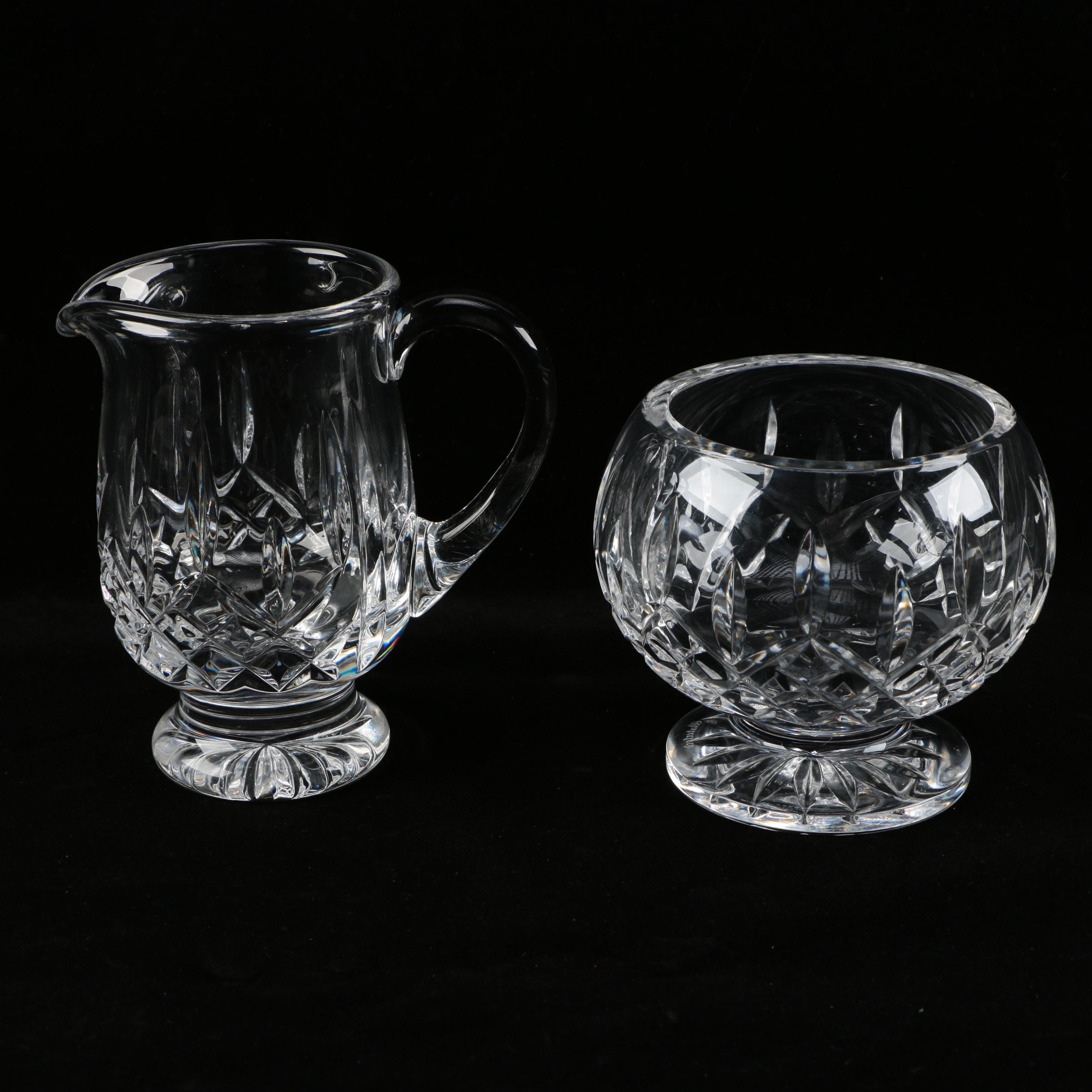 "Waterford Crystal ""Lismore"" Footed Creamer and Sugar Bowl"