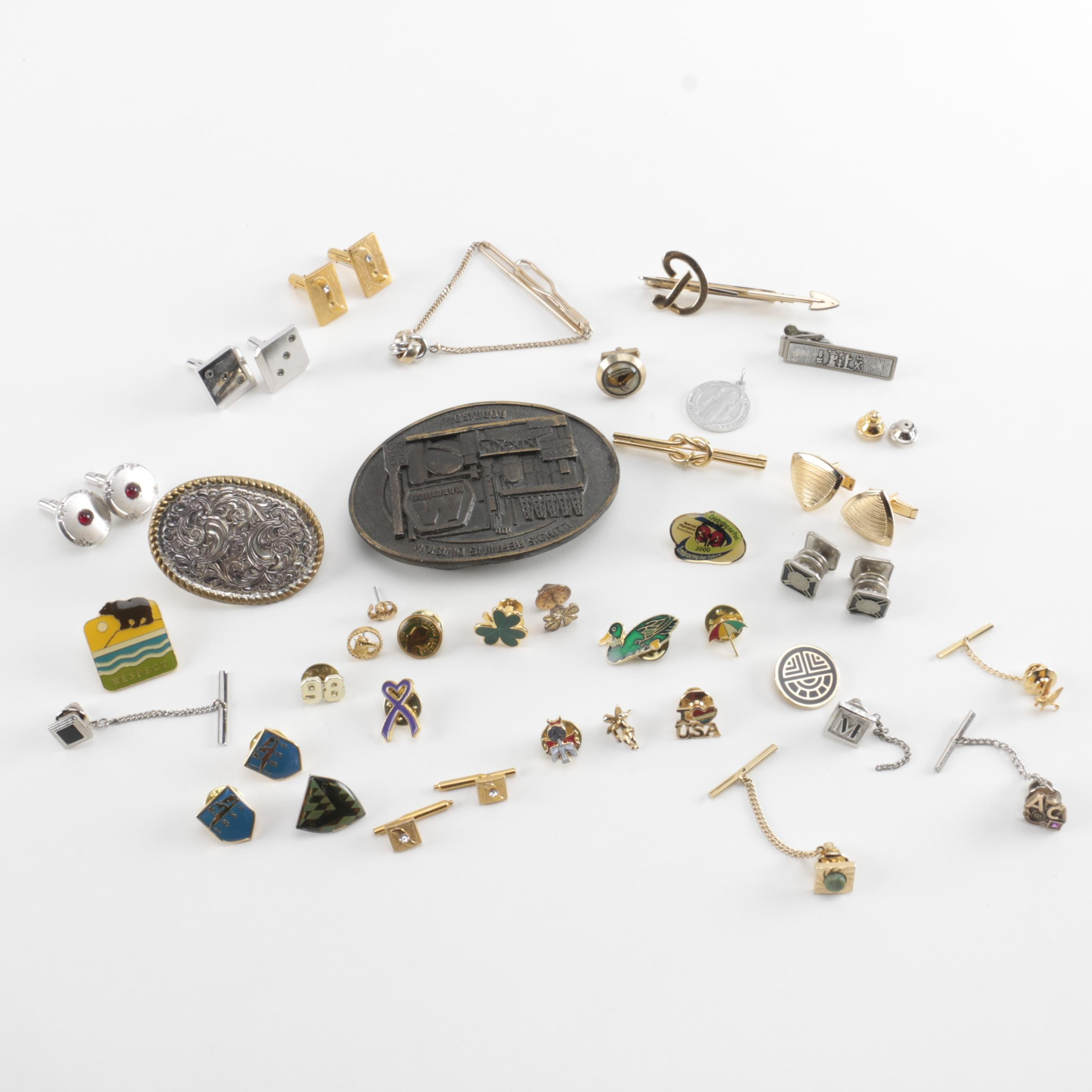 Assorted Cufflinks and Jewelry Including 10K Yellow Gold