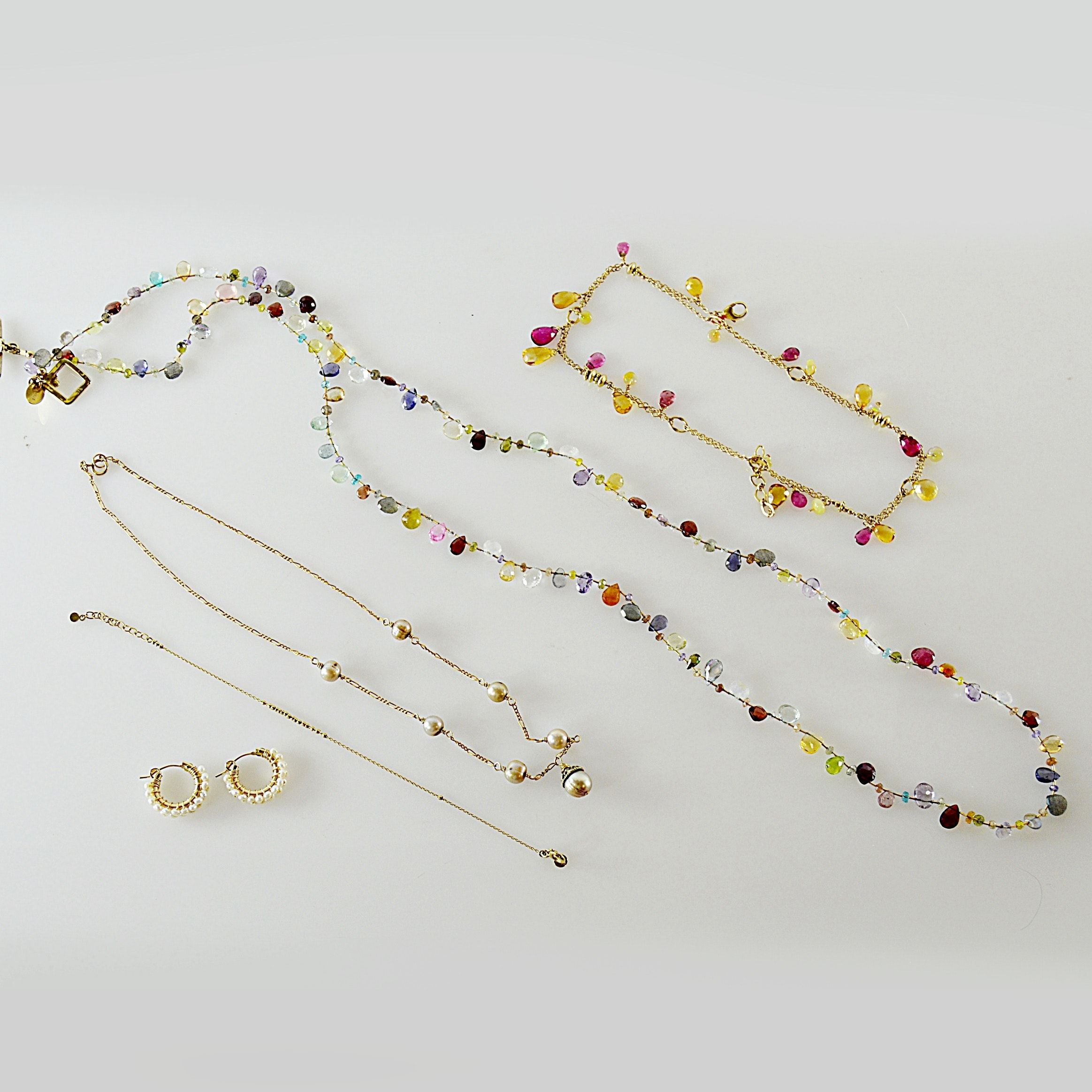 Cultured Pearl Necklace and Earrings, Multi-Color Stone Jewelry