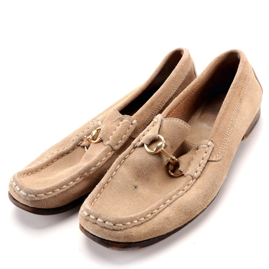 bc363bb1c24 Women s Gucci Beige Suede Loafers   EBTH