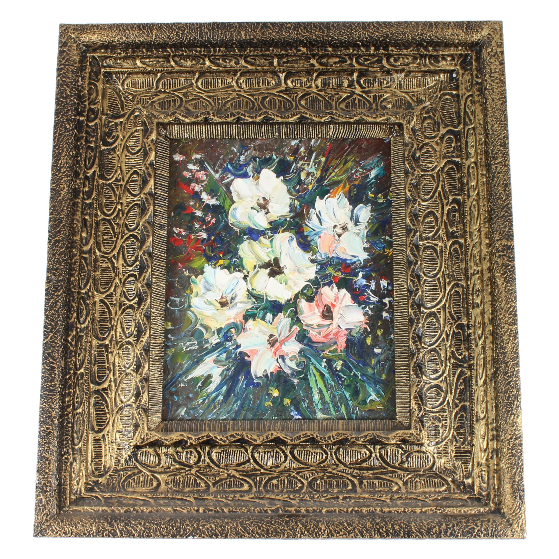 Acrylic Abstract Floral Painting in Ornate Frame