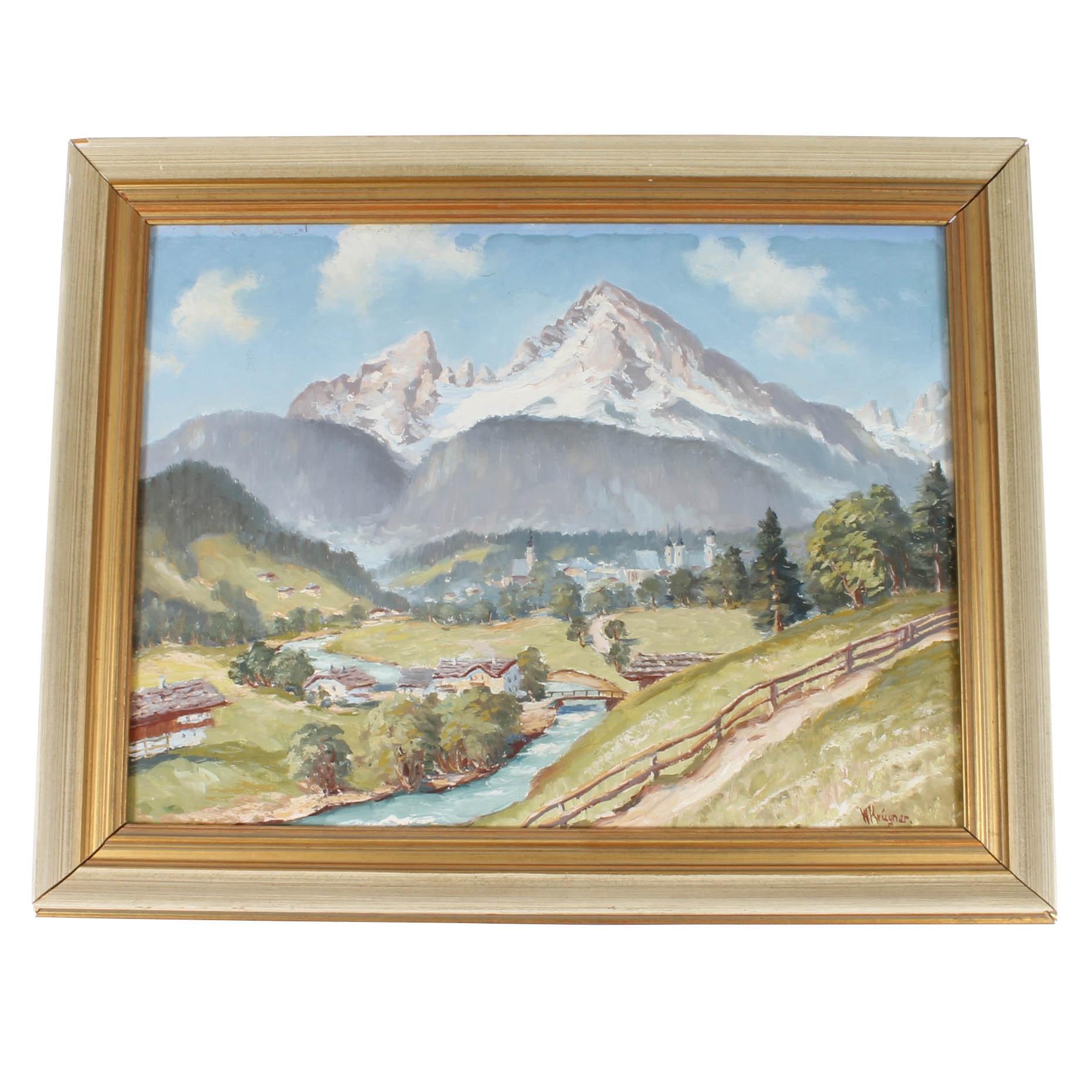 Original R. Krugner Mountain Landscape Painting