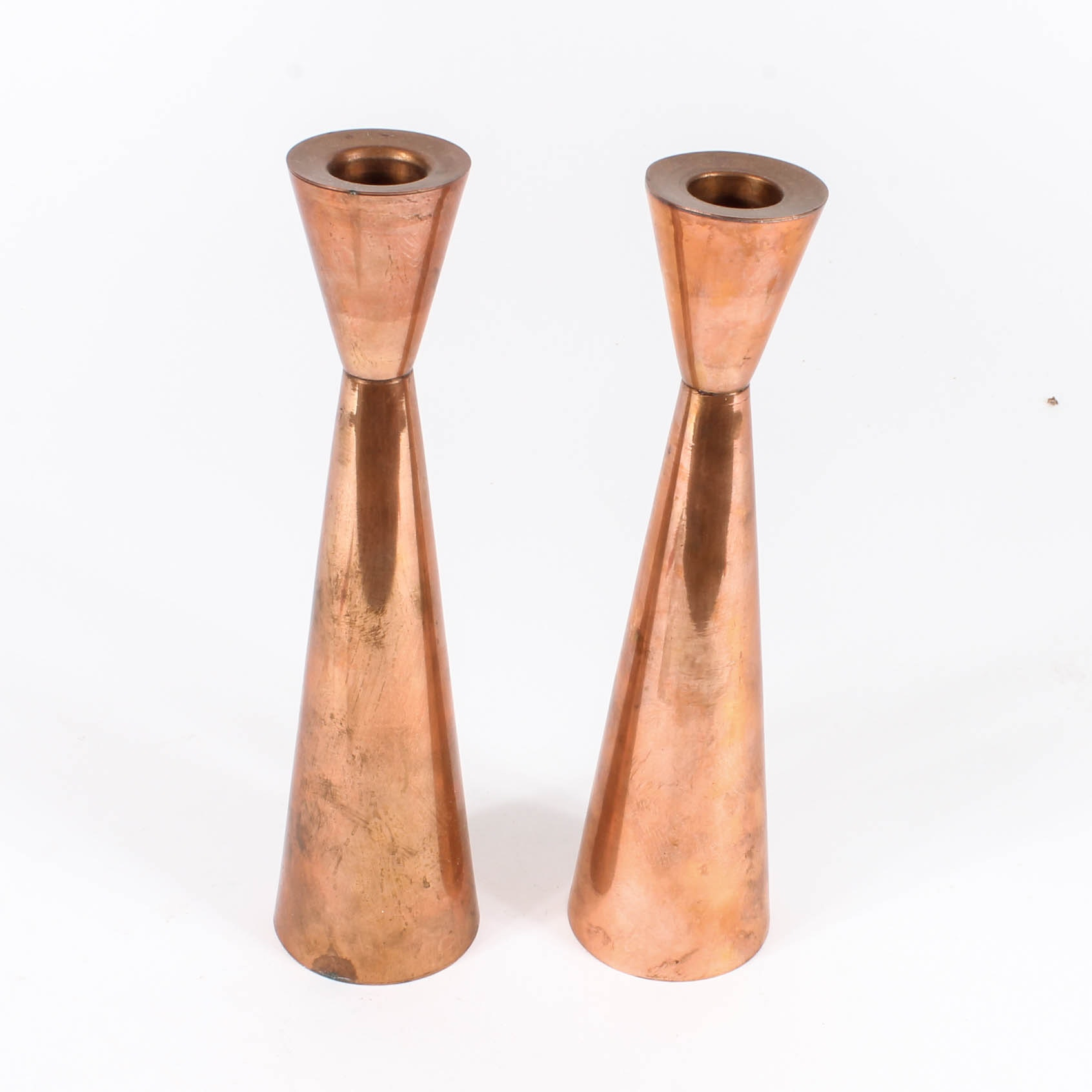 Danish Modern Copper Candlesticks