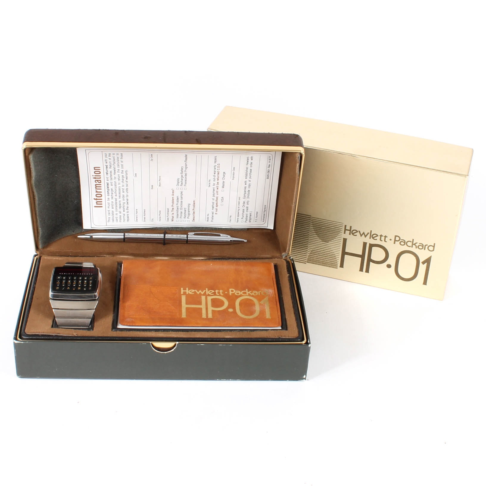 Vintage Hewlett-Packard Calculator Watch and Pen in Box