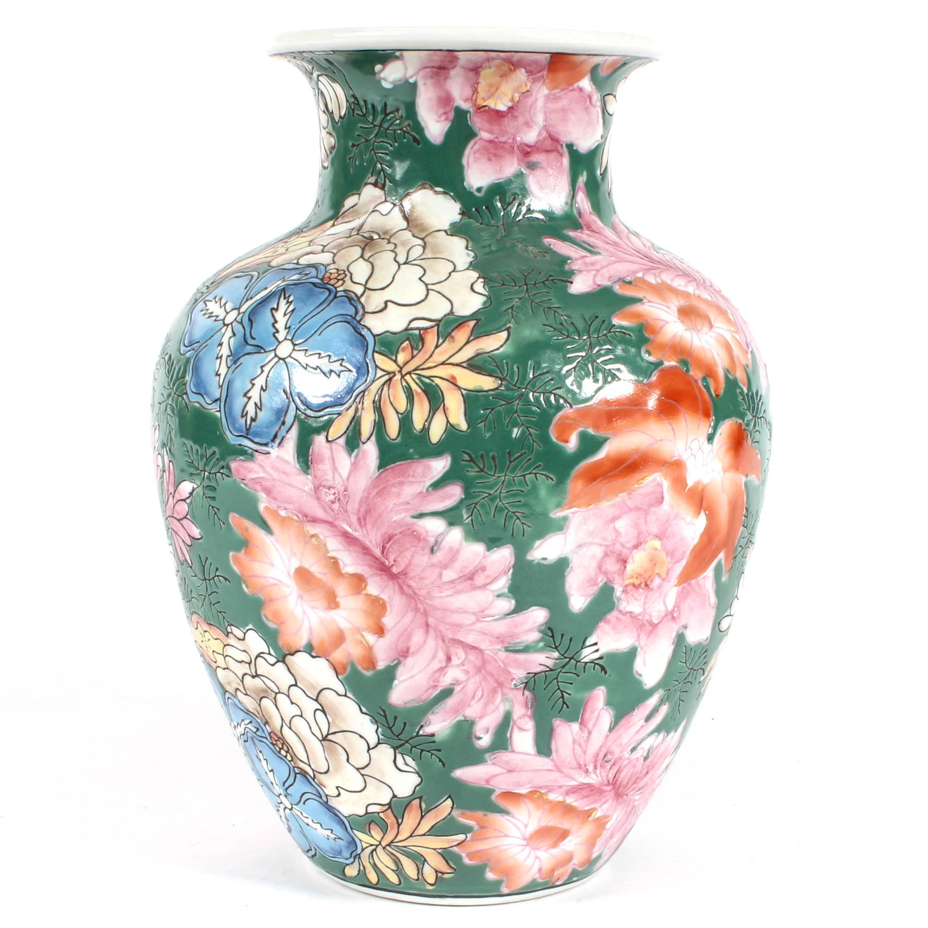 Hand-Painted Asian-Style Floral Vase