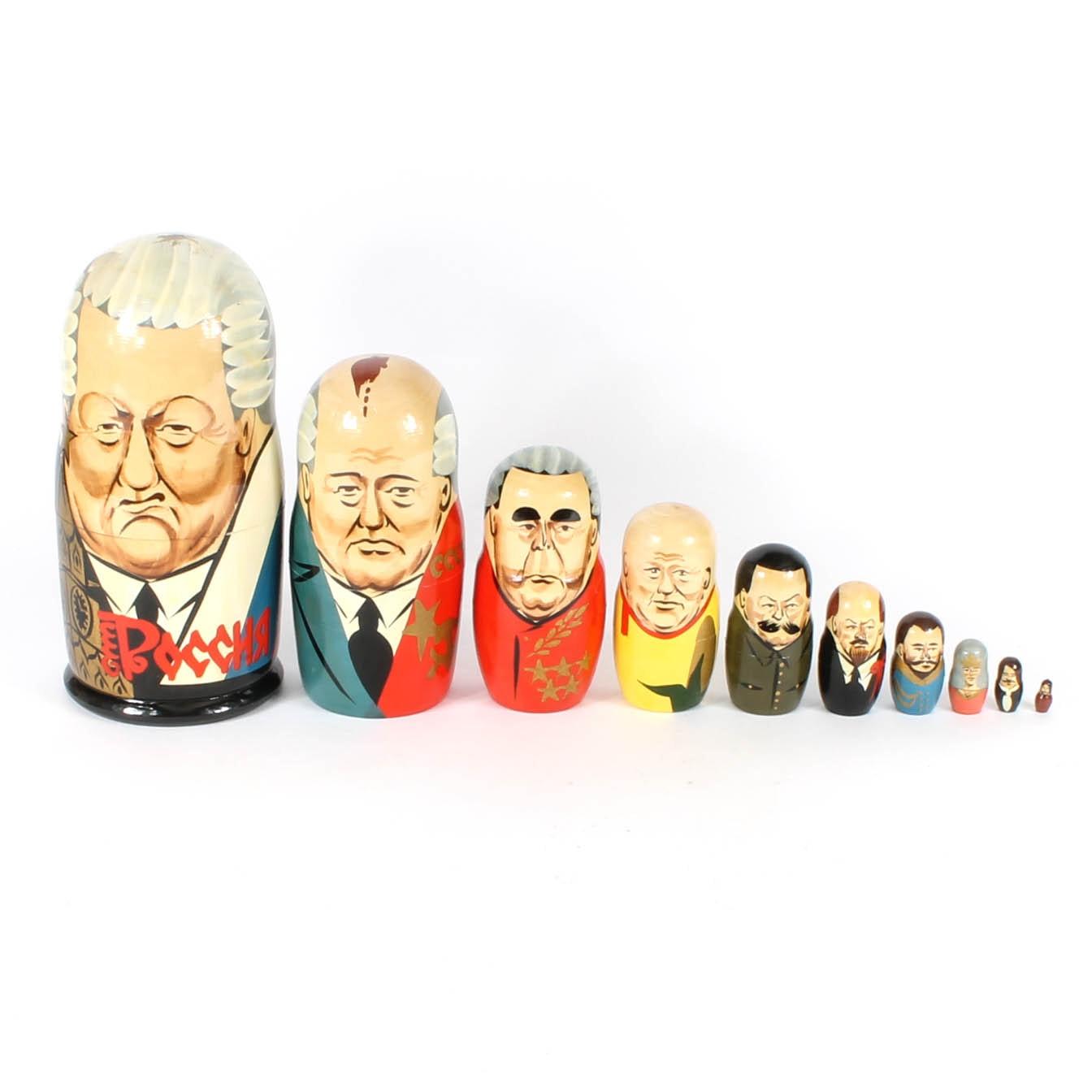 Set of Russian Political Figure Wood Nesting Dolls