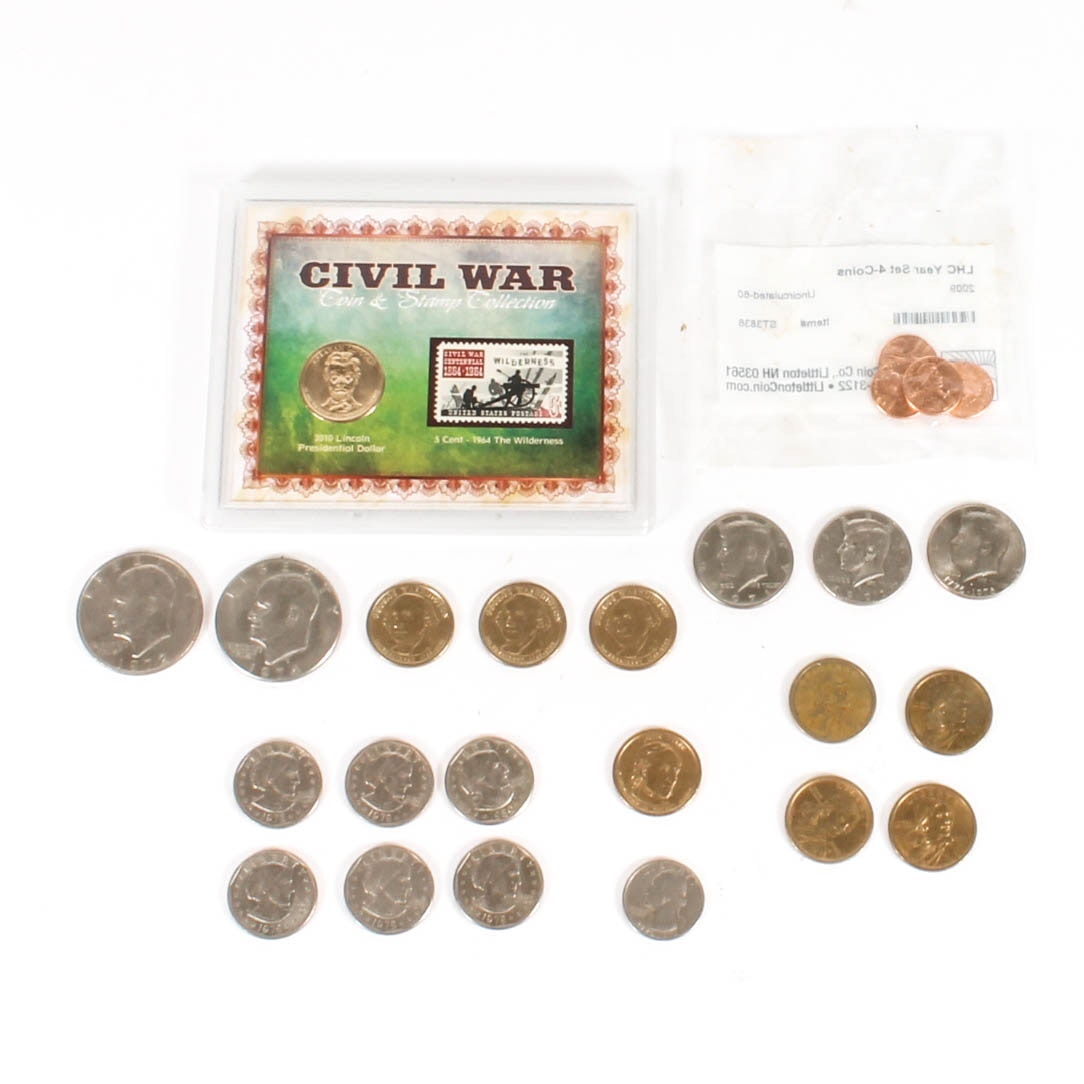 Collection of United States Coins and a Stamp