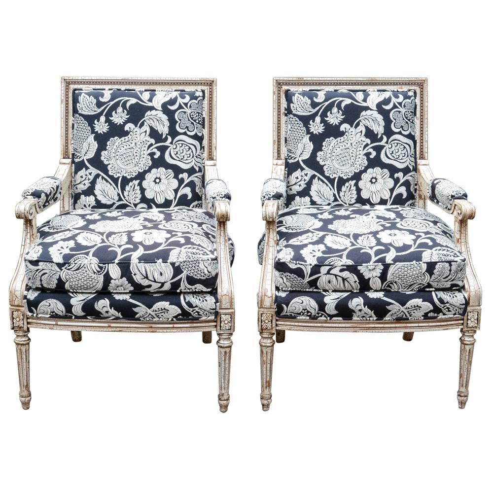 Pair of Louis XVI Style Crackle Club Chairs
