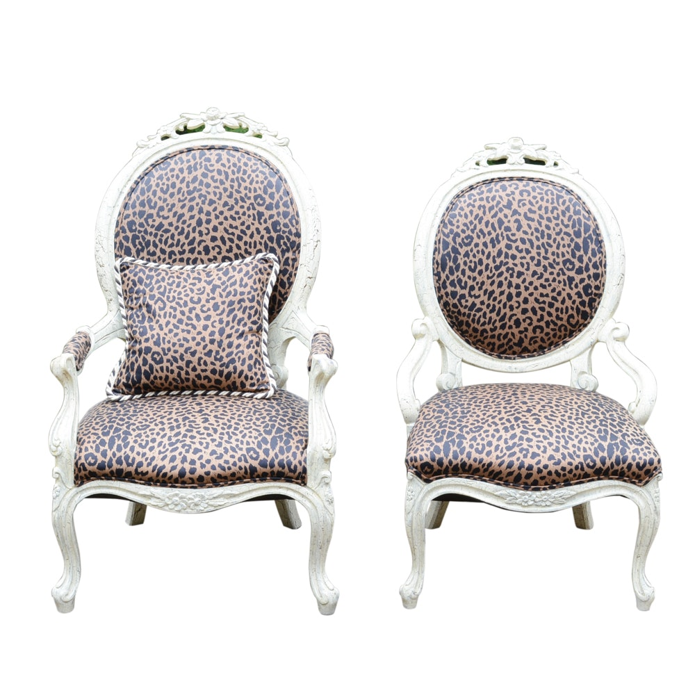 Superbe Victorian Leopard Print Chairs ...