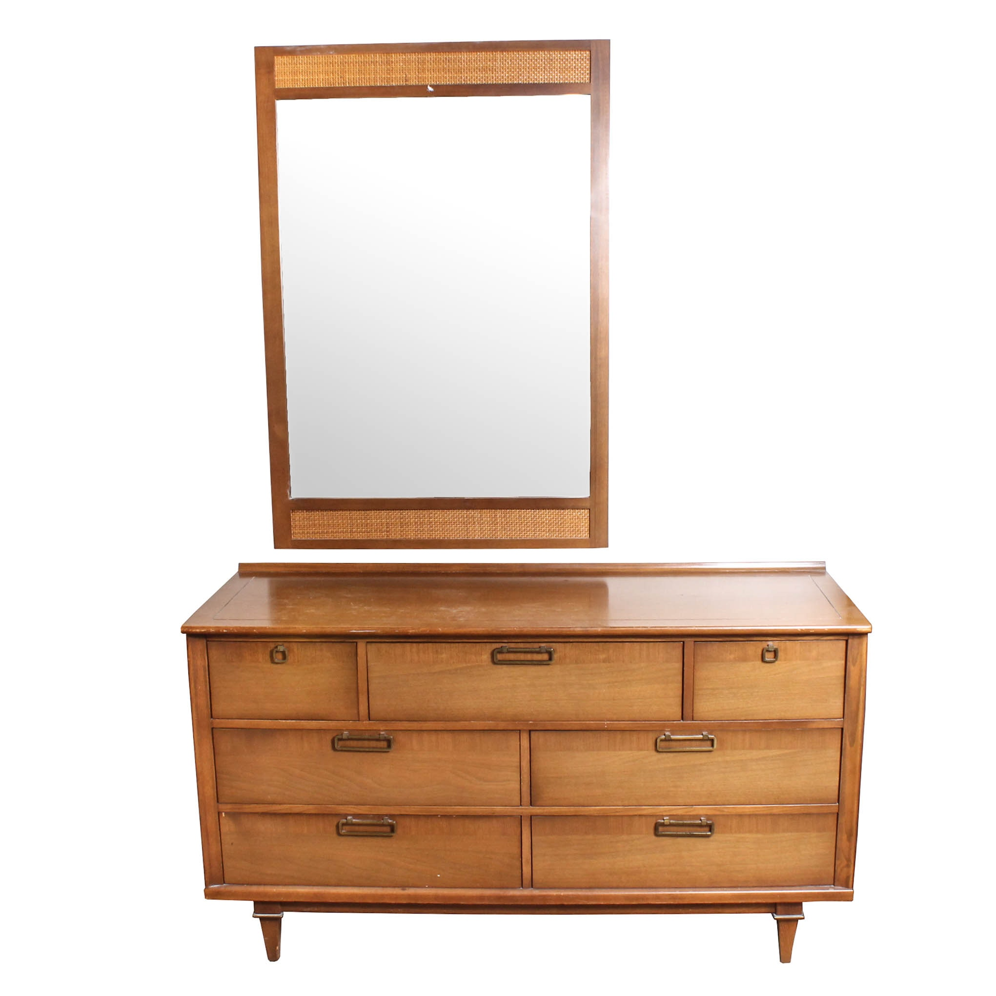 Vintage Mid-Century Dresser with Wall Mirror by Stanley