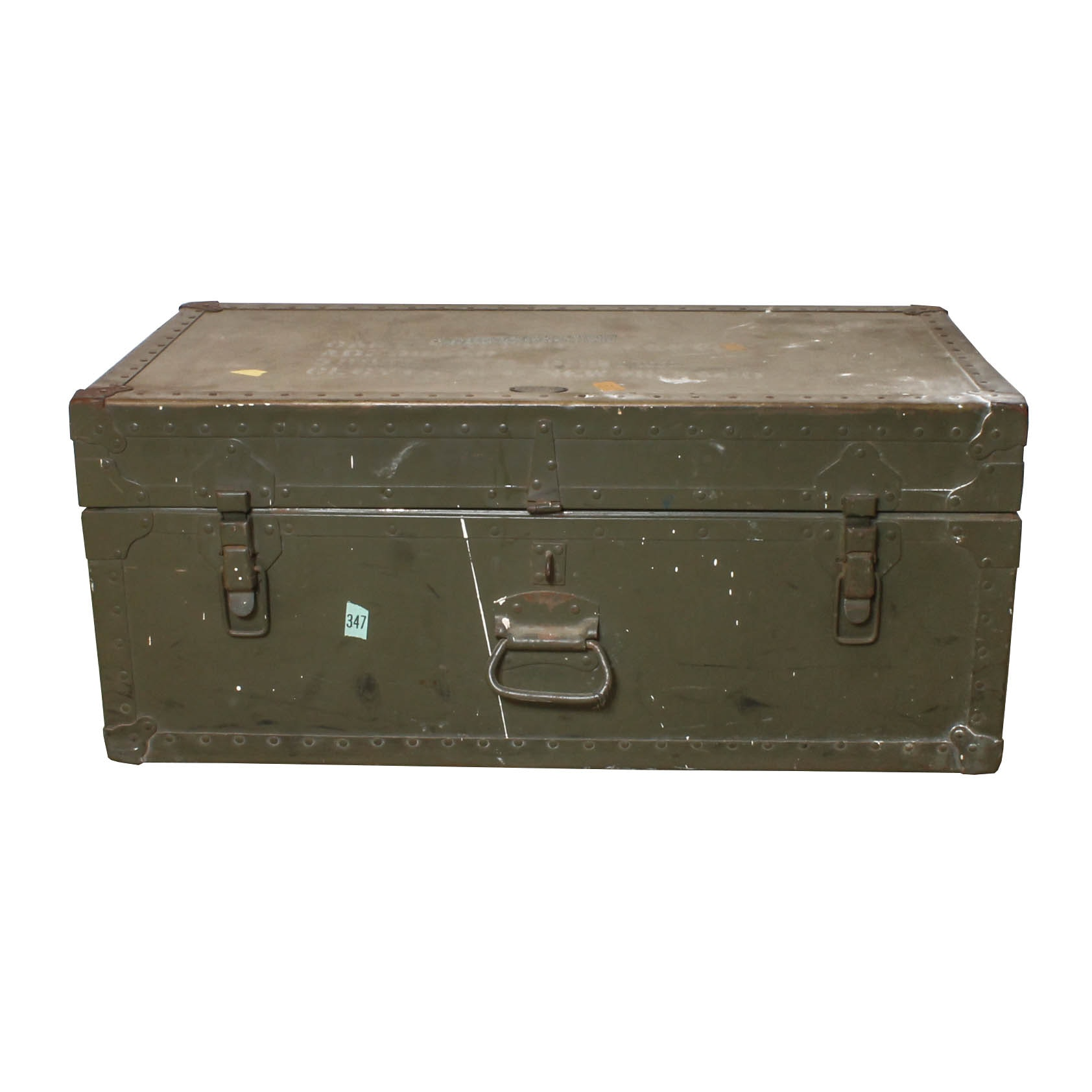 Vintage Olive Green Military Style Trunk