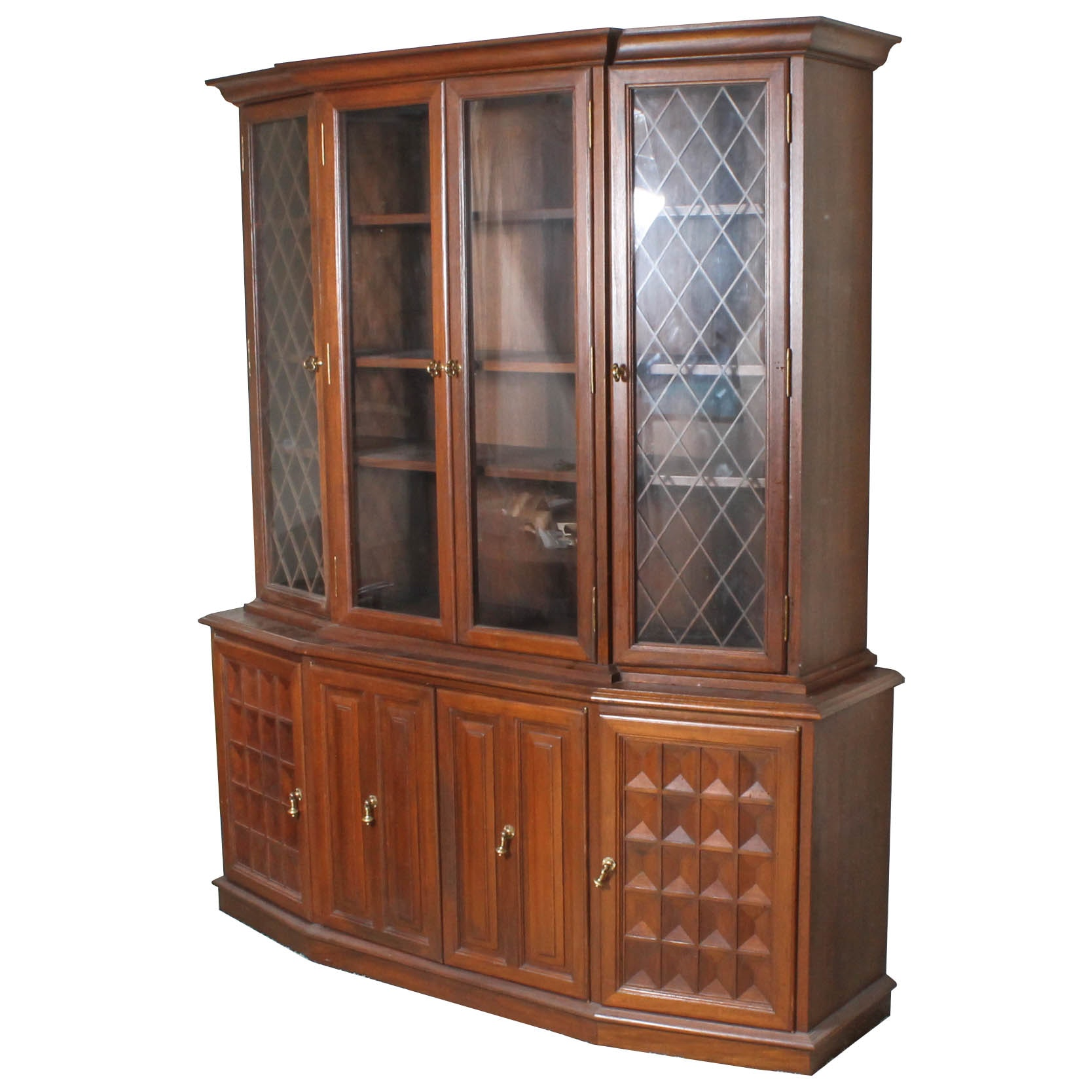 Large Wood and Glass Display Cabinet