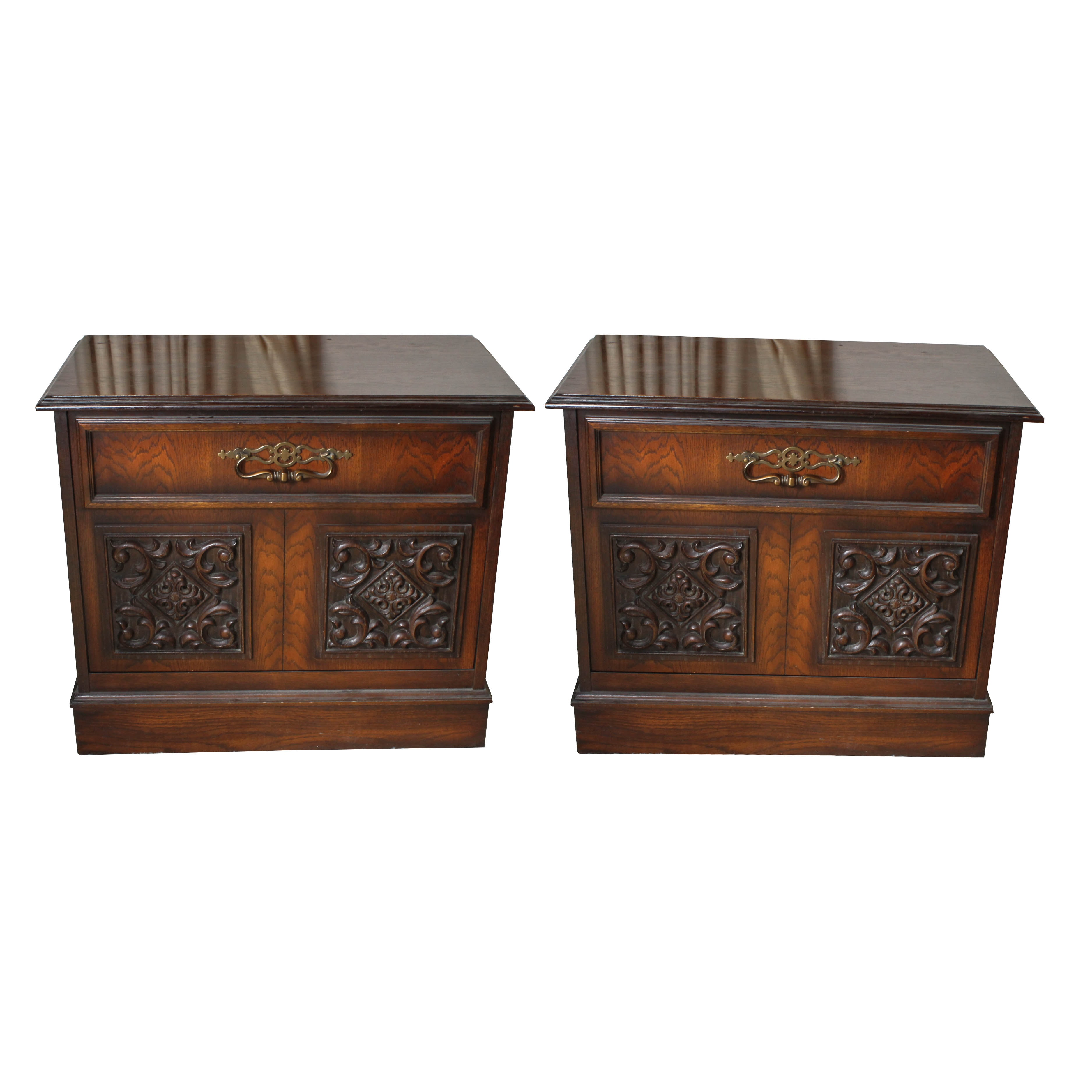 Pair Of Vintage Ornate Side Tables With Record Storage Cabinets ...