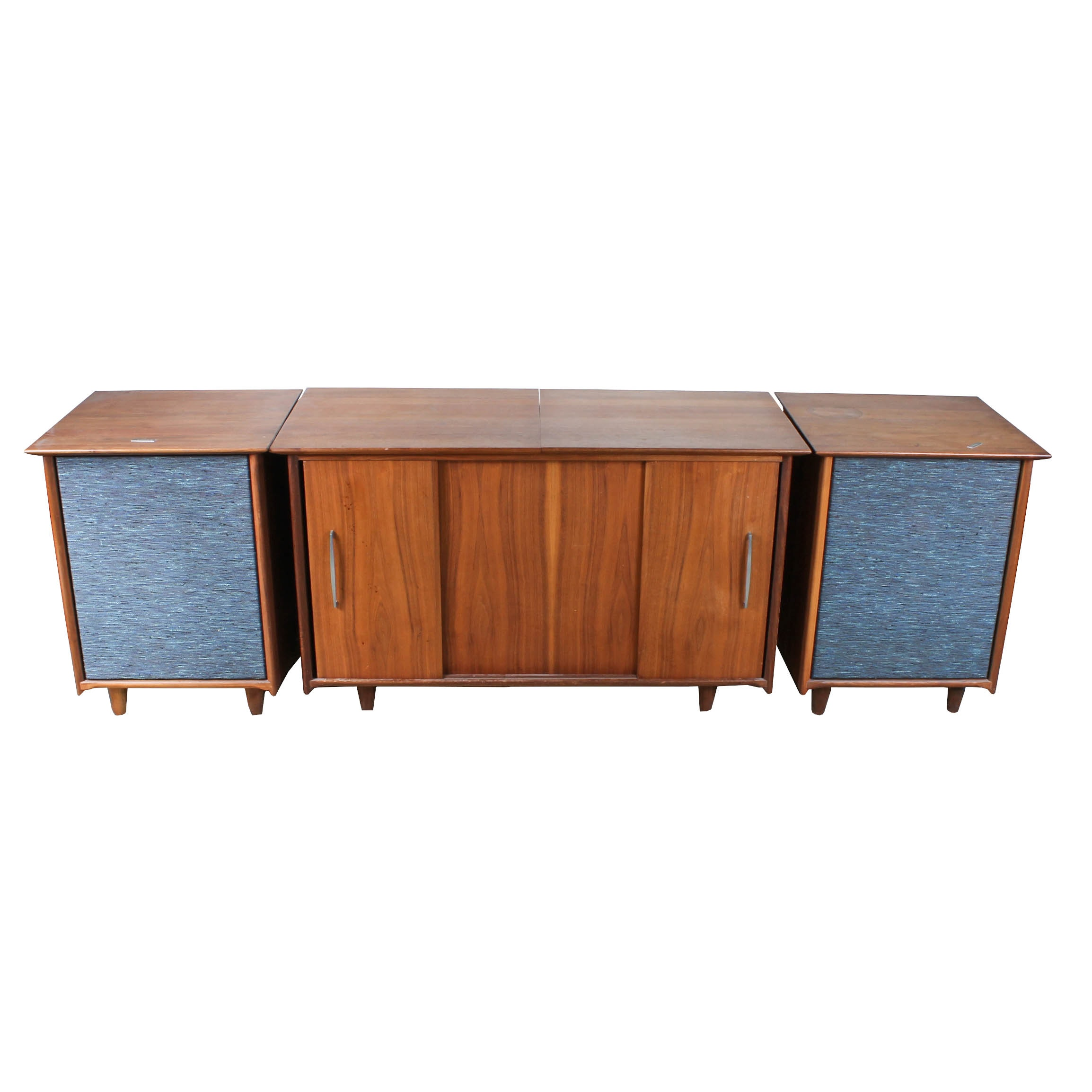 Mid-Century Wood Media Cabinet and Fisher Speaker Side Table