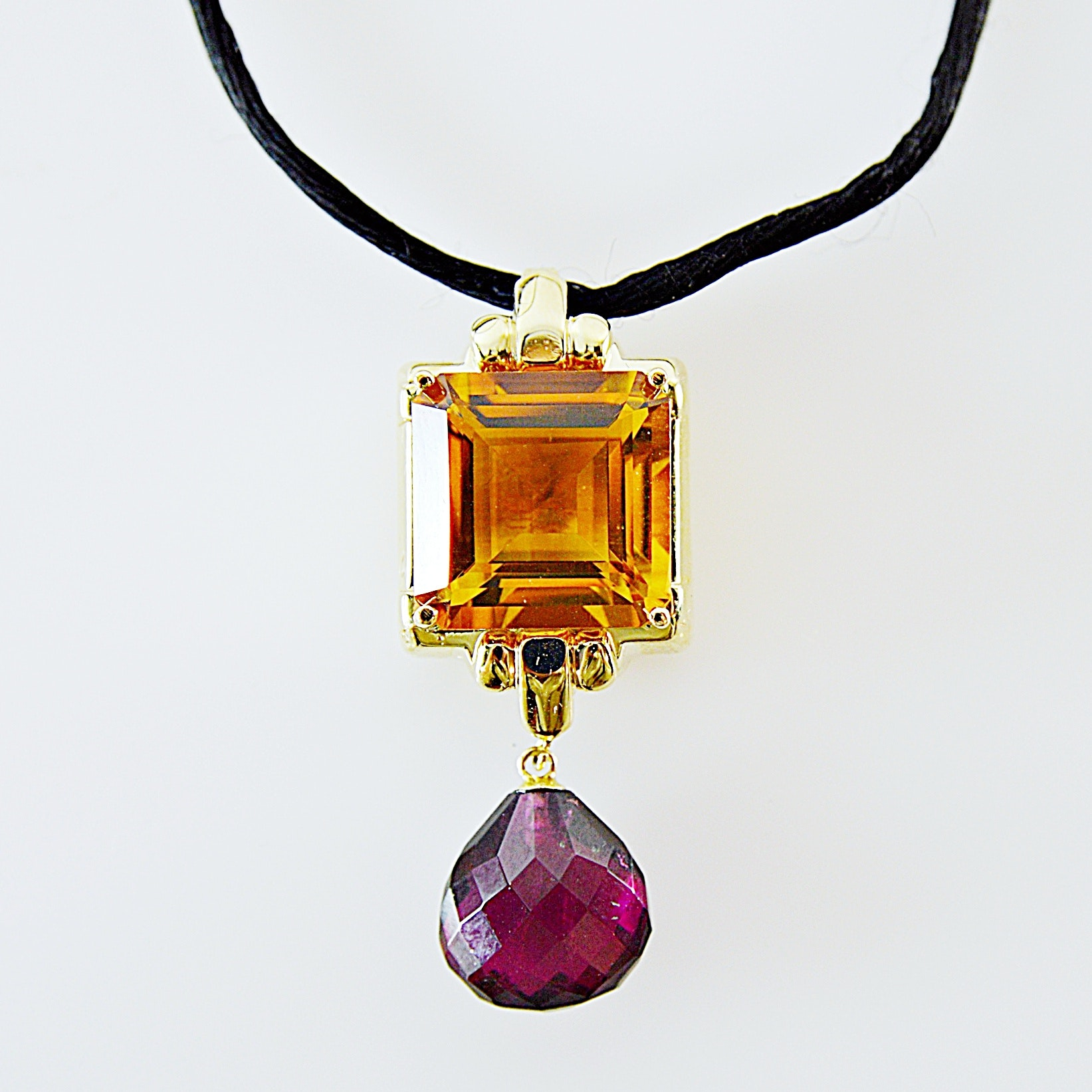 14K Gold, Citrine and Pink Tourmaline Pendant