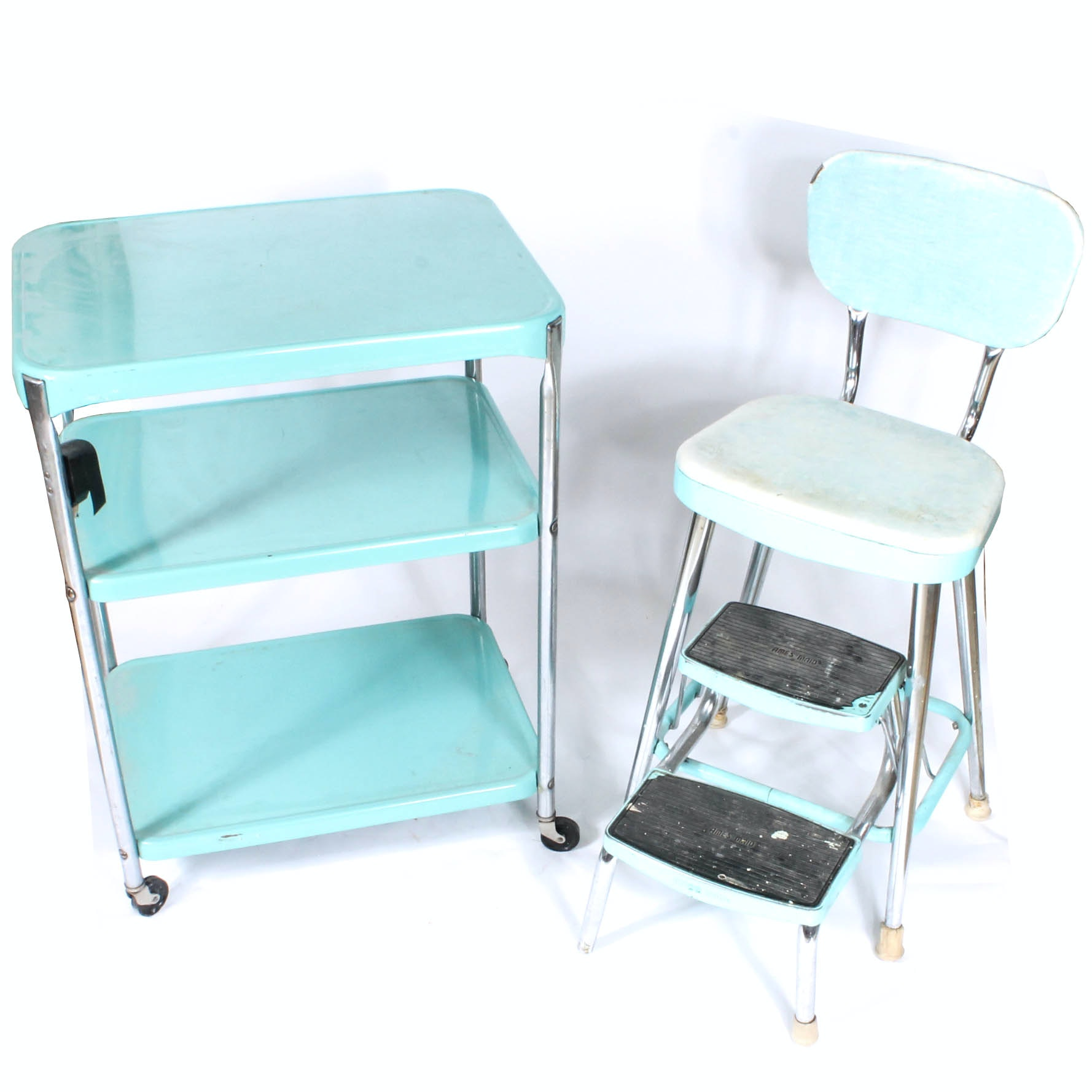 Vintage Mid-Century Metal Step-Stool Chair and Rolling Cart