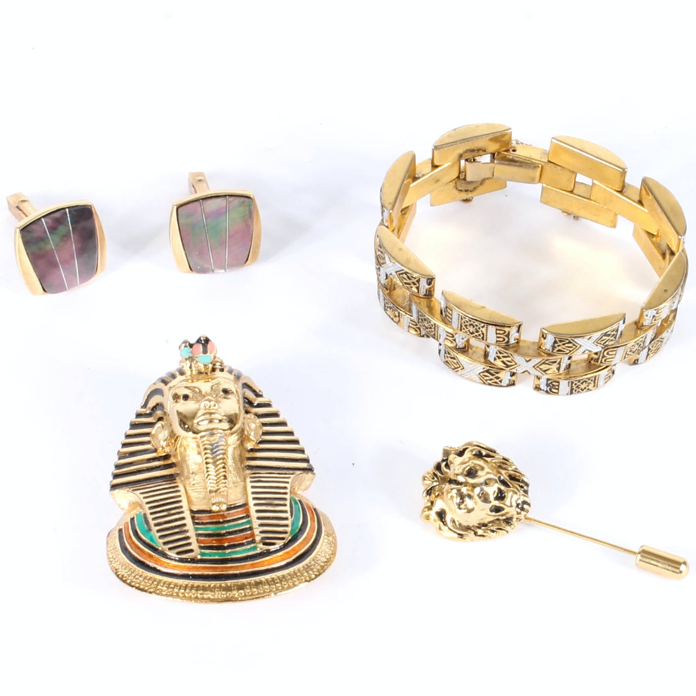 Variety of Gold Tone Costume Jewelry Featuring Eisenberg