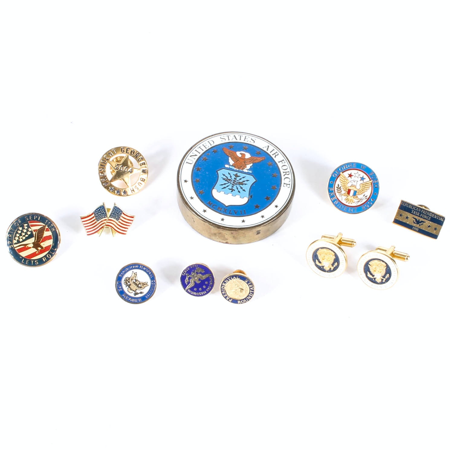 Collection of U.S., Military and Political-Themed Pins and Accessories