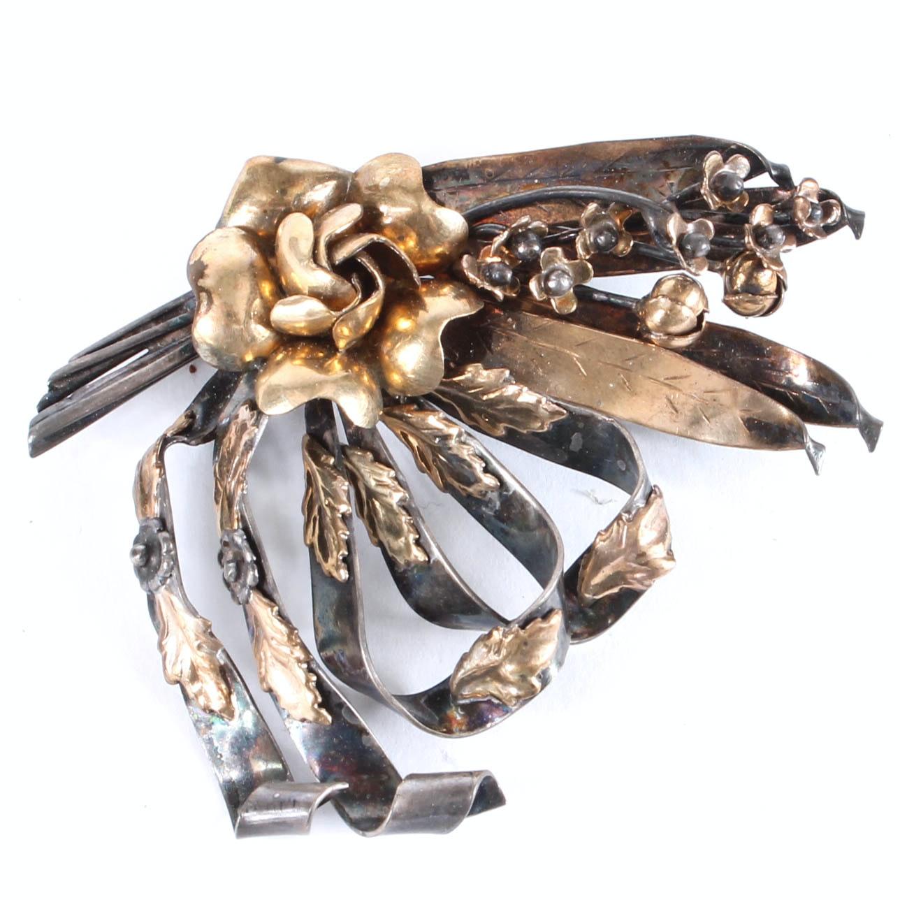 Vintage Hobé Sterling Silver and Gold Vermeil Floral Brooch