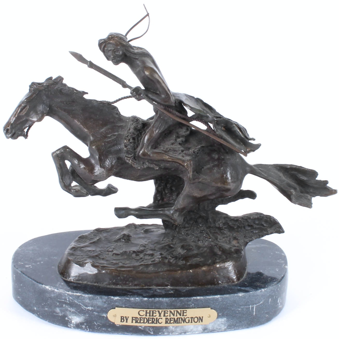 "Bronze Figurine After Frederic Remington ""Cheyenne"""