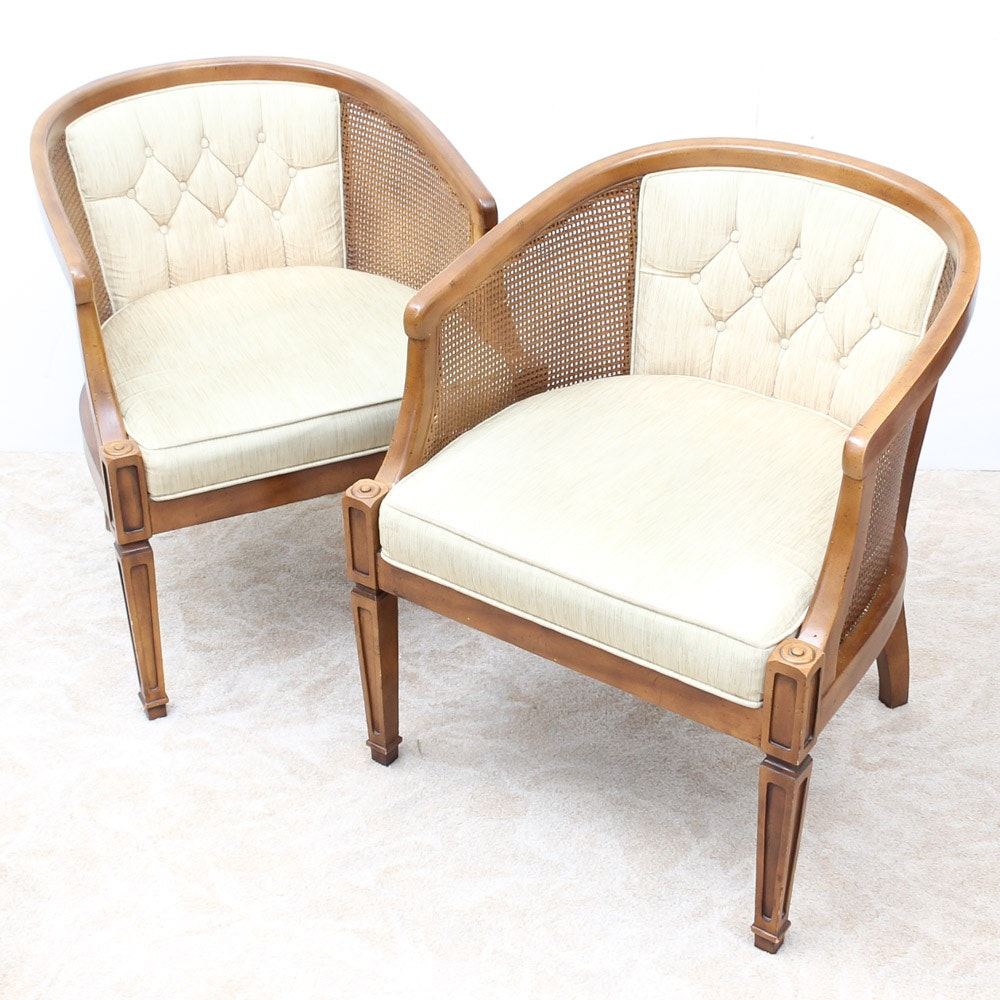 Mid-Century Upholstered Cane Chairs by Chaircraft