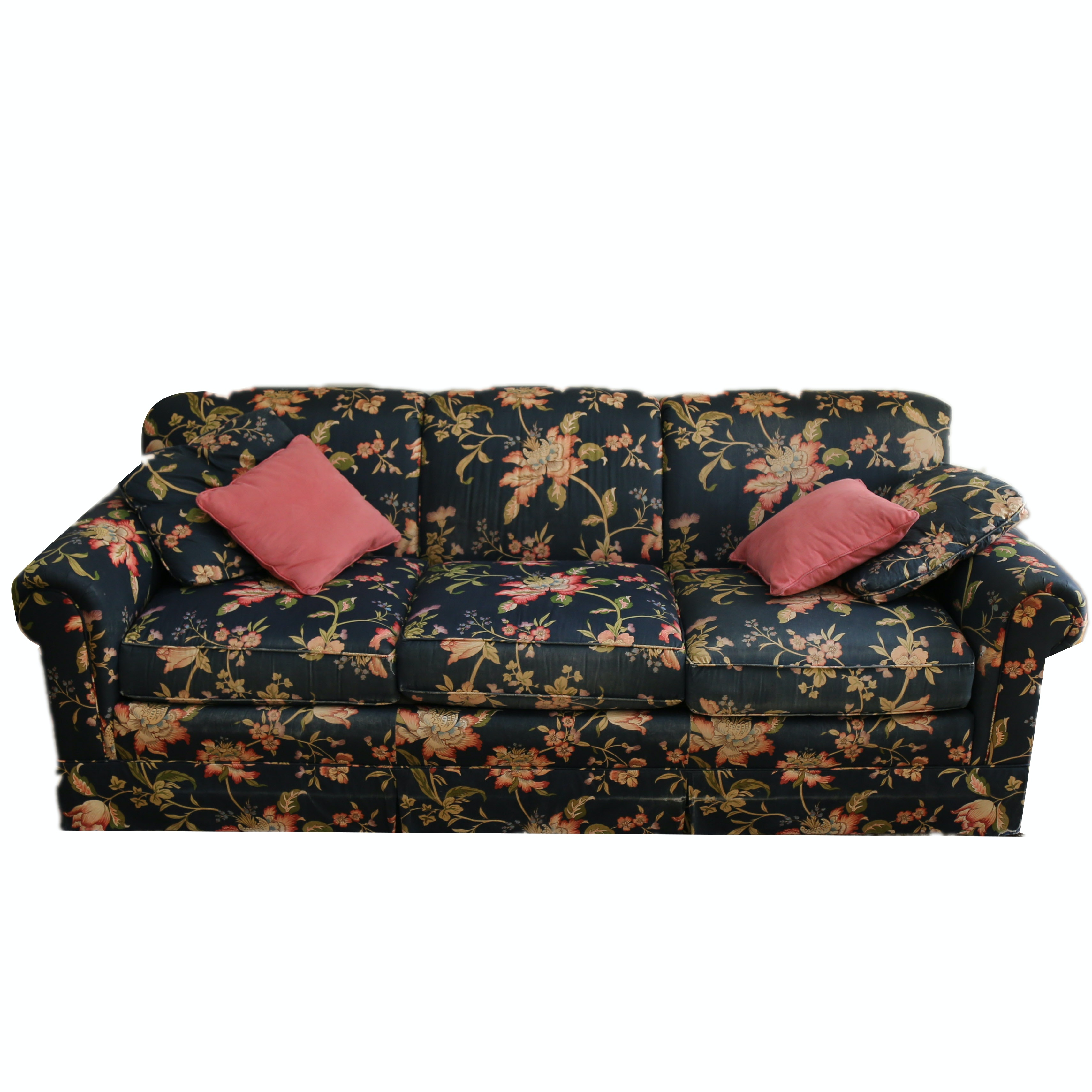 Black Floral Print Couch by Hickory White