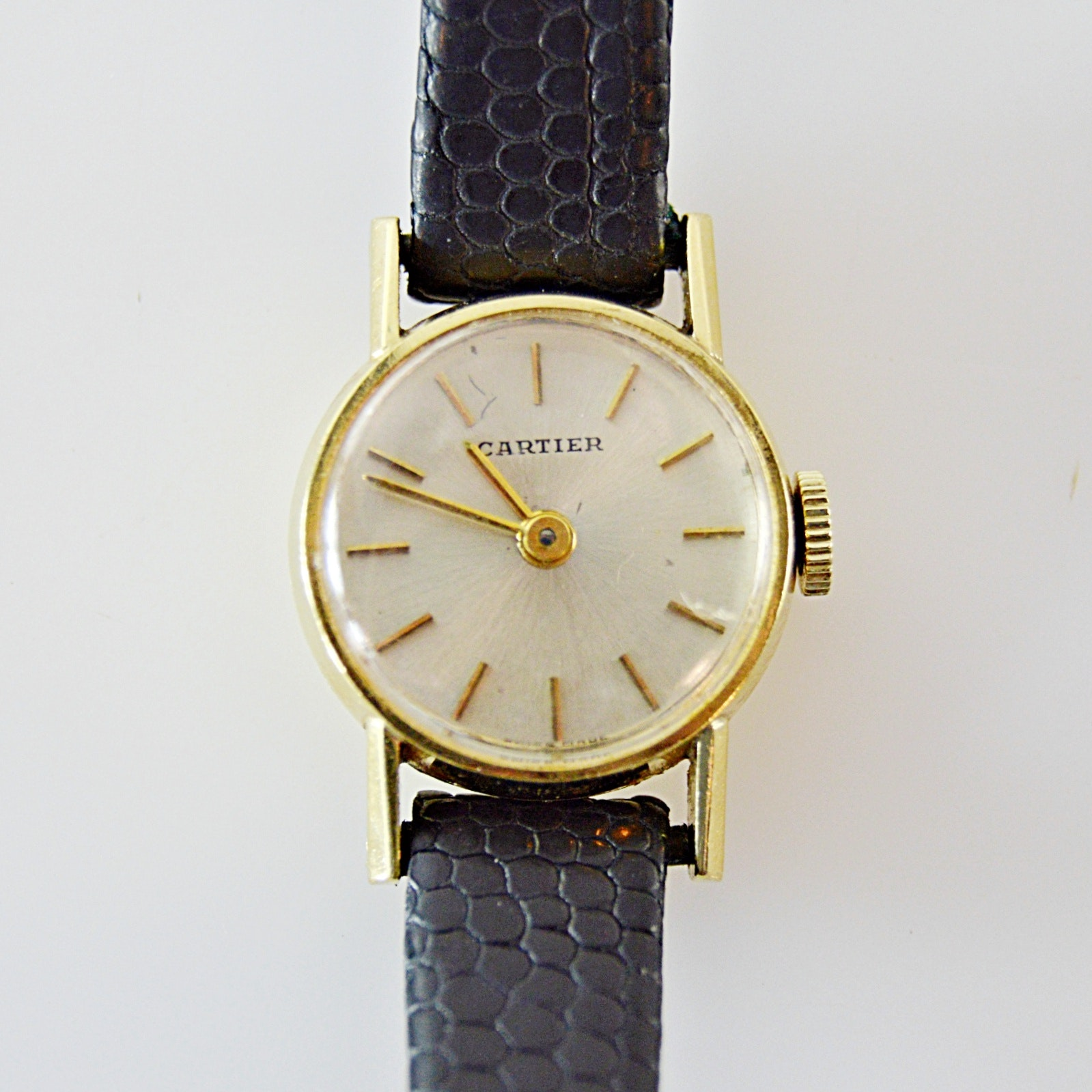 Cartier 18K Yellow Gold Swiss Made Wristwatch With Lizard Leather Strap
