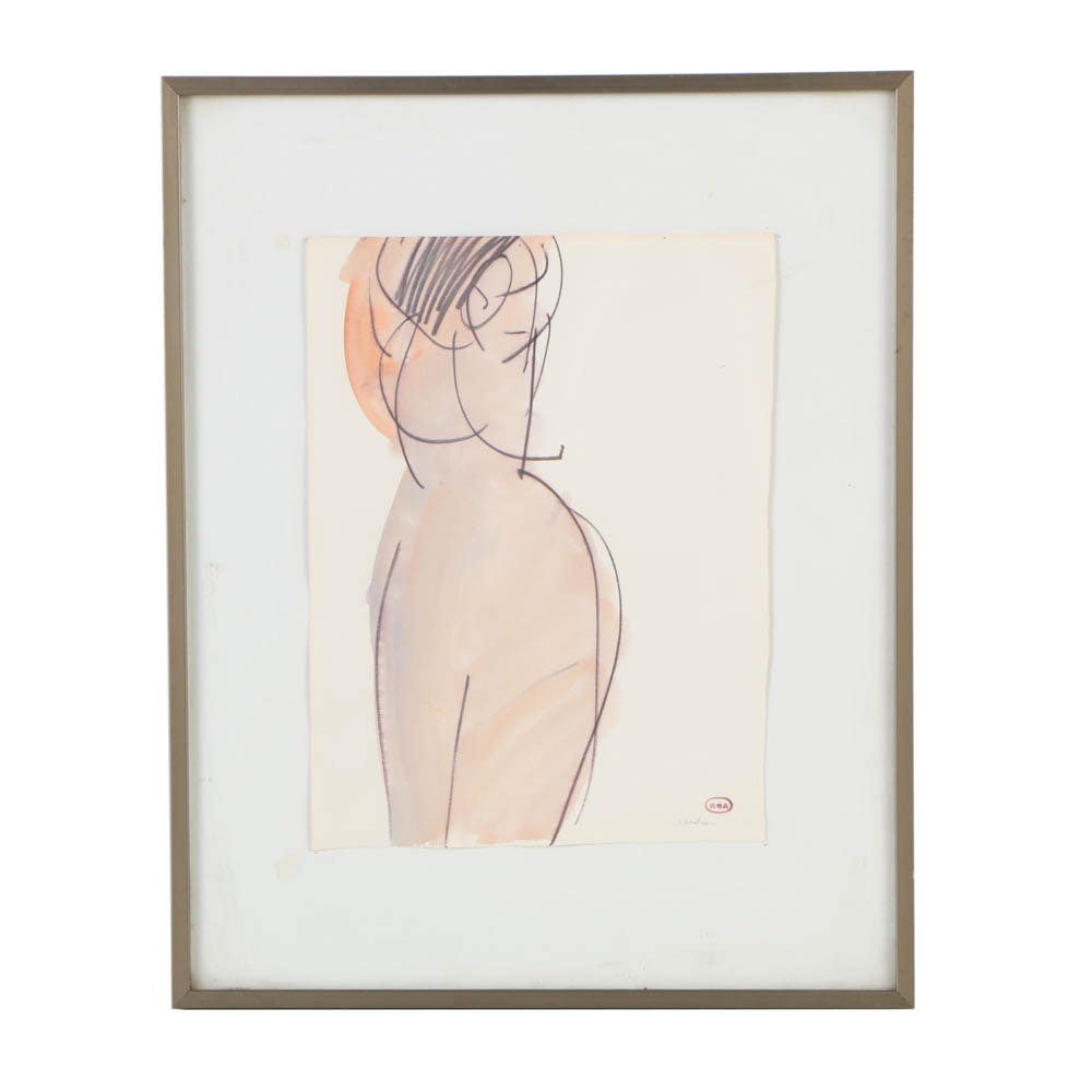 Ronald Ahlström Watercolor Painting on Paper of Female Nude
