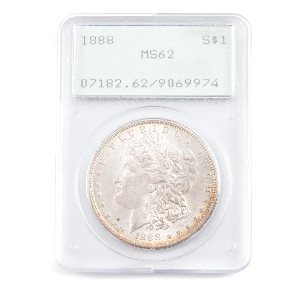 Graded MS-62 (By PCGS) 1888 Silver Morgan Dollar