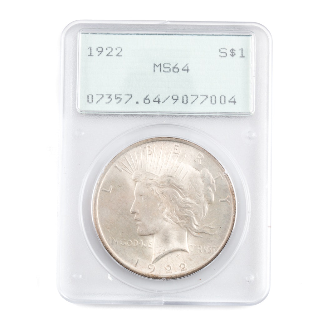 Graded MS-64 (By PCGS) 1922 Silver Peace Dollar