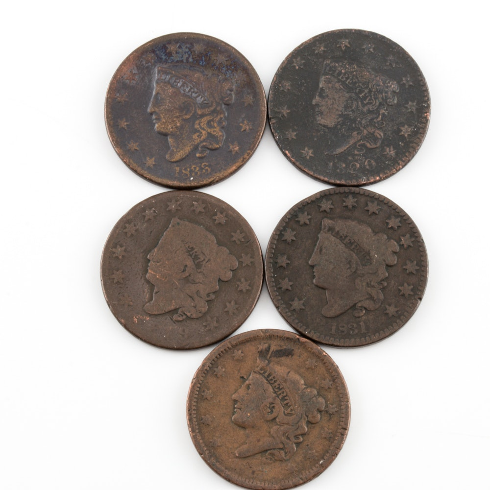 Group of 5 Various U.S. Large Cents Including an 1820
