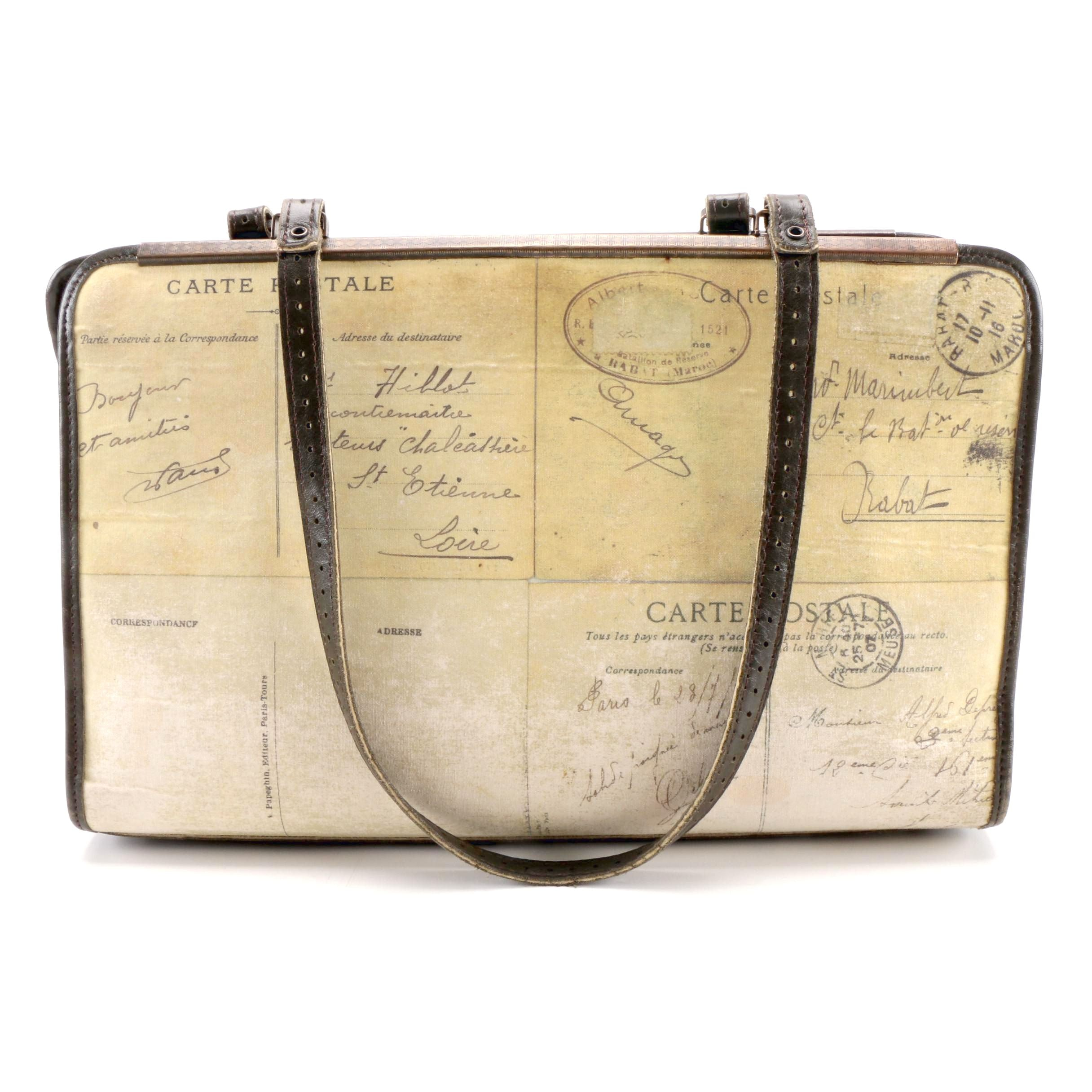 Jamin Puech Leather and Canvas Shoulder Bag