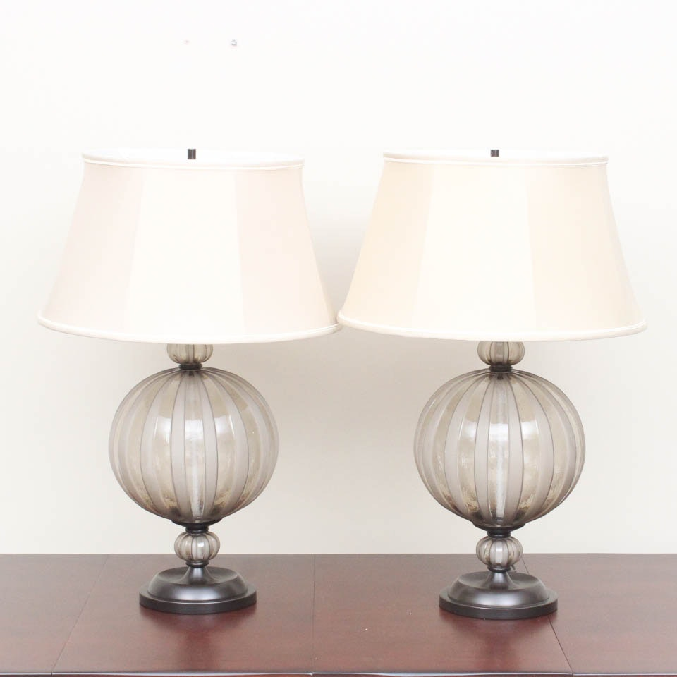 Contemporary Glass Orb Table Lamp Pair