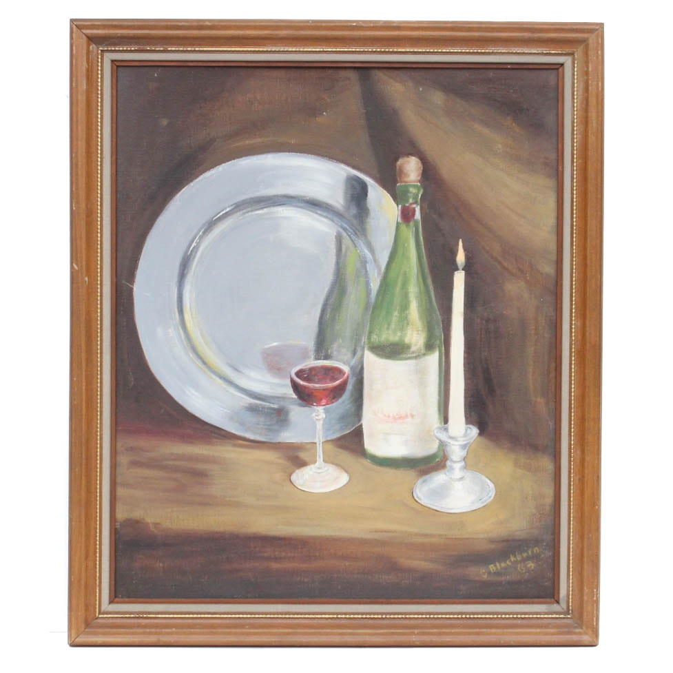 C. Blackburn Oil on Board Still Life